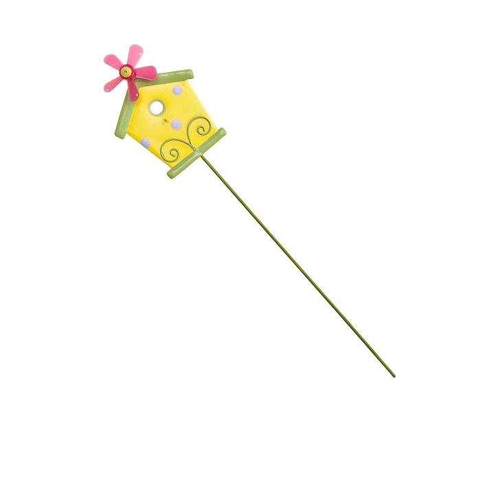 Украшение на ножке Village People Домик с флюгером, цвет: желтый, высота: 29 см. 67154_2466340Украшение на ножке Village People Домик с флюгеромпоможет вам дополнить экстерьер красивой и яркой деталью. Отлично подходит для декорирования садового участка, грядок, клумб. Такое украшение очень просто вставляется в землю при помощи длинной ножки, отлично переносит любые погодные условия и прослужит долгое время.Размер домика: 8,5 см х 6,5 см х 2,5 см. Высота: 29 см.
