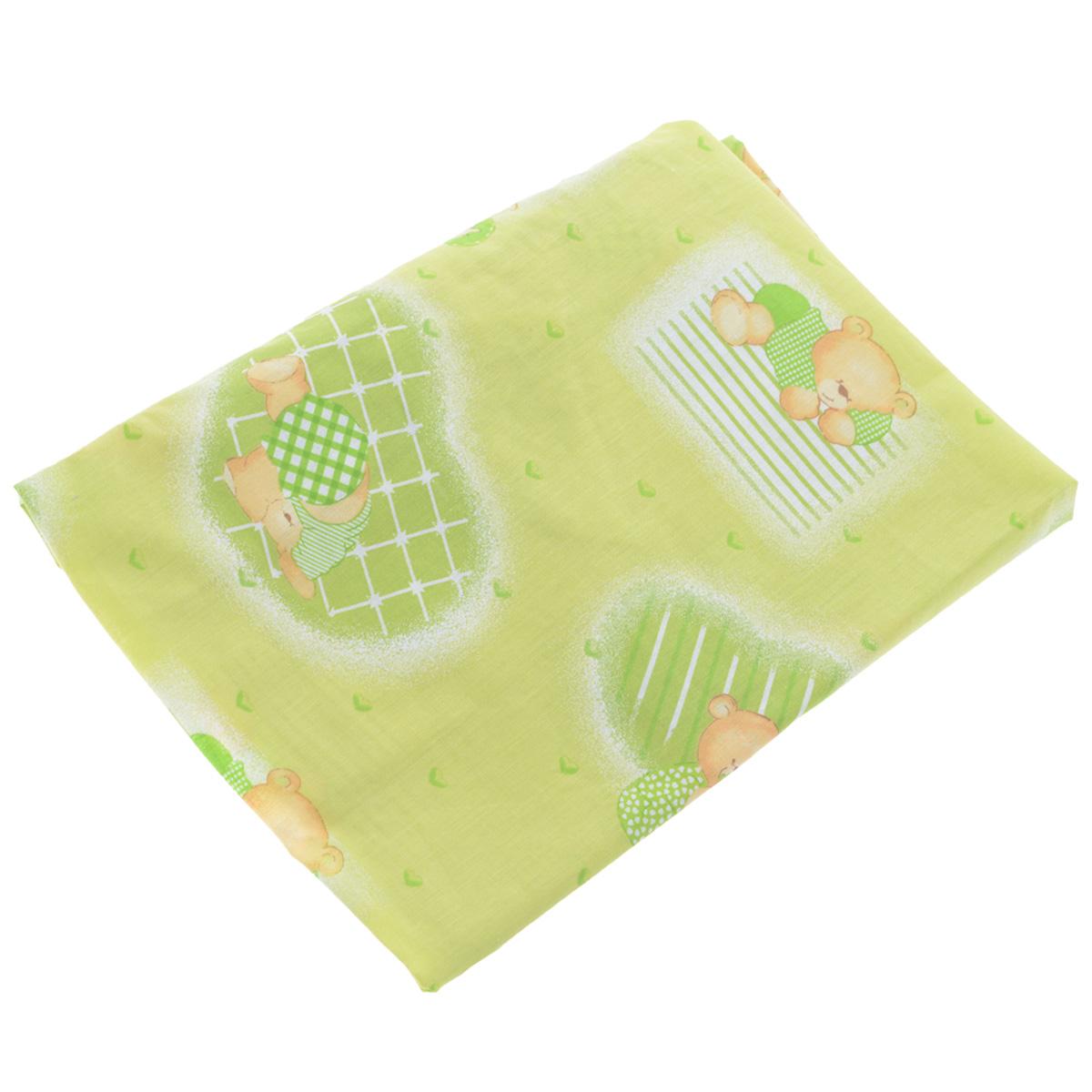 Простыня на резинке Фея Мишки, цвет: зеленый, 60 см х 120 см0001049-4Мягкая простыня на резинке Фея Мишки идеально подойдет для кроватки вашего малыша и обеспечит ему здоровый сон. Она изготовлена из натурального 100% хлопка, дарящего малышу непревзойденную мягкость. Простыня с помощью специальной резинки растягивается на матрасе. Она не сомнется и не скомкается, как бы не вертелся ребенок. Подарите вашему малышу комфорт и удобство!