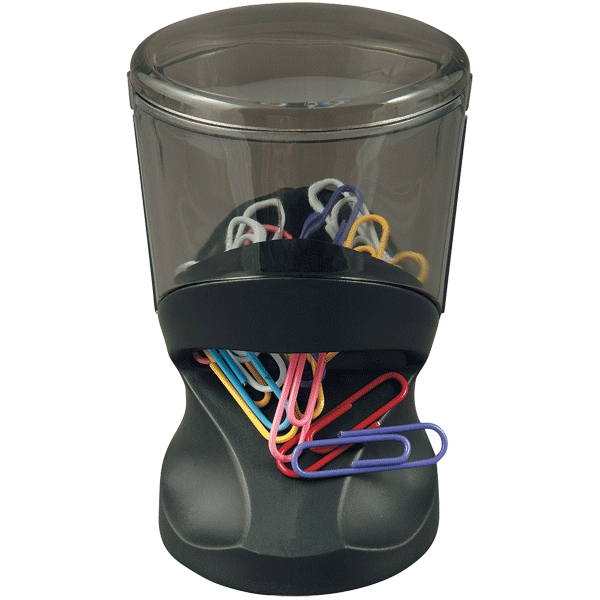 Подставка для скрепок Proff, магнитная, со скрепками, цвет: черный. PF-05332FS-54100Элегантная подставка для скрепок Proff, выполненная из пластика, позволяет удобно хранить скрепки и поддерживать аккуратный вид рабочего стола.Магнитная крышка подставки, выполненная в виде наклонного цилиндра, верхняя часть подставки из полупрозрачного пластика. В комплект с подставкой входят цветные скрепки.