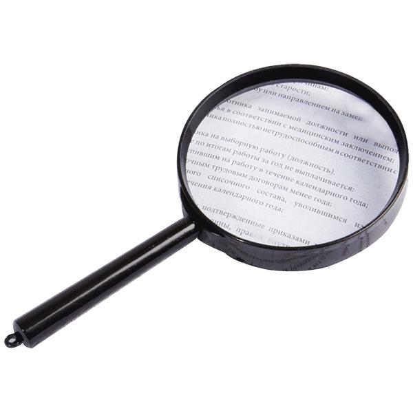 """Увеличительное стекло Proff """"Alpha"""" с удобной пластиковой ручкой облегчает чтение, просмотр карт, мелких рисунков, шкал, схем. Асферическая поверхность линзы обеспечивает высокое качество изображения. Лупа с пятикратным увеличением."""