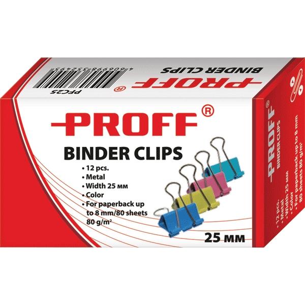 Зажимы для бумаг Proff, 25 мм, 12 шт493005Металлические зажимы для бумаг Proff предназначены для временного скрепления листов, размером до 8 мм (80 листов, плотностью 80г/м2) стандартной бумаги. Зажимы для бумаг не мнут документы, не оставляют следов, имеют удобные ушки. Зажимы выполнены из высококачественной стали.С набором зажимов для бумаг Proff ваш рабочий стол всегда будет в порядке.