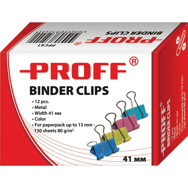 Зажимы для бумаг Proff, 41 мм, 12 штFS-54100Металлические зажимы для бумаг Proff предназначены для временного скрепления листов, размером до 13 мм (130 листов, плотностью 80г/м2) стандартной бумаги. Зажимы для бумаг не мнут документы, не оставляют следов, имеют удобные ушки. Зажимы выполнены из высококачественной стали.С набором зажимов для бумаг Proff ваш рабочий стол всегда будет в порядке.
