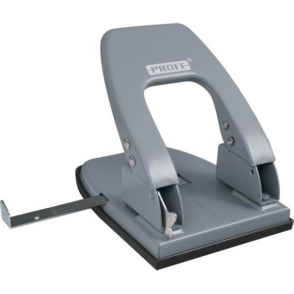 Дырокол большой Proff Punch, с линейкой, на 30 листов, цвет: серыйTD 0135Удобный и практичный дырокол Proff Punch- незаменимый офисный инструмент. Стильный эргономичный дизайн создаст приятное настроение на рабочем столе. Дырокол в надежном металлическом корпусе предназначен для одновременной перфорации до 30 листов бумаги. Стальные рабочие поверхности обеспечивают долгий срок его эксплуатации. Удобство обеспечивает нескользящее основание и съемный резервуар для обрезков бумаги. Для выравнивания листов предусмотрена выдвижная линейка.