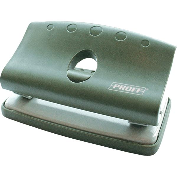 Дырокол малый Proff Punch, на 10 листов, цвет: зеленый537100 черныйУдобный и практичный дырокол Proff Punch- незаменимый офисный инструмент. Компактный дырокол в пластиковом корпусе предназначен для одновременной перфорации до 10 листов бумаги. Стальные рабочие поверхности обеспечивают долгий срок его эксплуатации. Удобство обеспечивает нескользящее основание и съемный резервуар для обрезков бумаги.