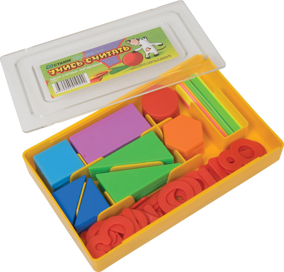 """Касса счетных материалов Стамм """"Учись считать"""" поможет вам научить малыша считать, распознавать геометрические фигуры, такие, как треугольник, прямоугольник, круг, квадрат, шестиугольник. В комплект набора входит: фигуры квадрата - 10 штук, фигуры круга - 10 штук, фигуры прямоугольника - 10 штук, фигуры шестиугольника - 10 штук, фигуры треугольника (разного размера) - 40 штук, набор цифр и знаков - 32 штуки, счетные палочки - 20 штук. Предметы набора упакованы в удобную пластиковую коробочку с секциями. Рекомендовано детям старше трех лет. Средний размер элемента: 4 см х 2,5 см. Количество элементов: 132 шт. Размер коробки: 17 см х 10,5 см х 2,5 см."""