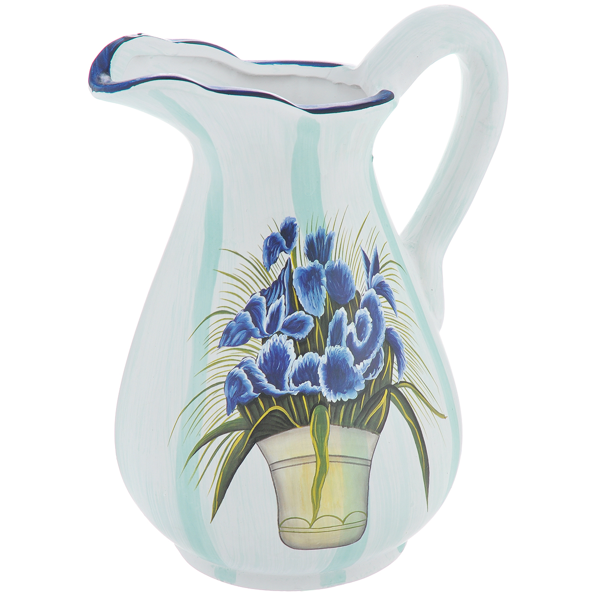 Ваза Lillo Синие цветы, высота 25 смFS-91909Элегантная ваза Lillo Синие цветы выполнена из высококачественной керамики в виде кувшина и декорирована рисунком. Она придется по вкусу и ценителям классики, и тем, кто предпочитает утонченность и изящность. Вы можете поставить вазу в любом месте, где она будет удачно смотреться и радовать глаз. Такая ваза подойдет и для цветов, и для декора интерьера. Кроме того - это отличный вариант подарка для ваших близких и друзей. Высота вазы: 25 см.Диаметр по верхнему краю: 6 см.Диаметр основания: 11,5 см.