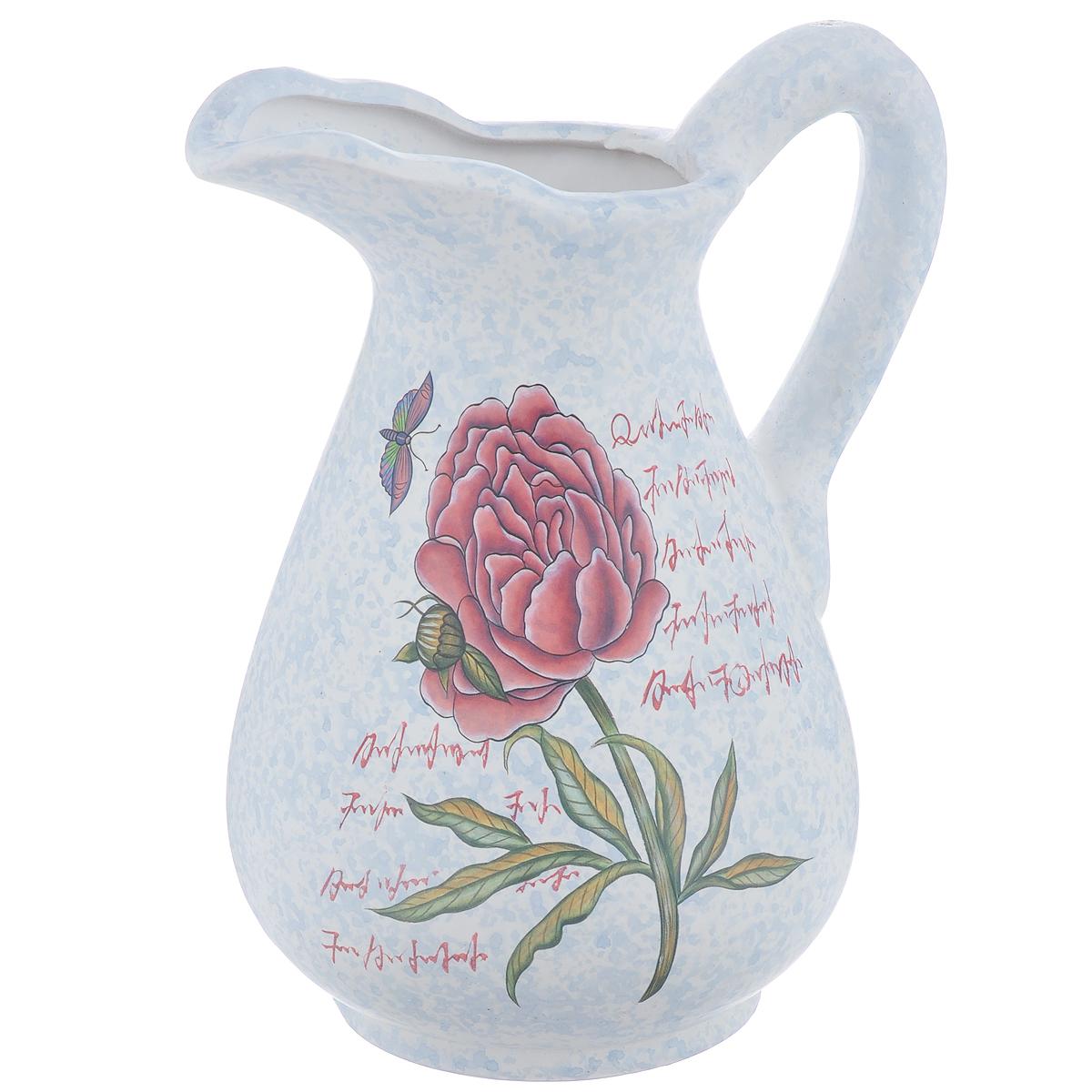 Ваза Lillo Нежный цветок, высота 25 см866191Элегантная ваза Lillo Нежный цветок выполнена из высококачественной керамики в виде кувшина и декорирована рисунком. Она придется по вкусу и ценителям классики, и тем, кто предпочитает утонченность и изящность. Вы можете поставить вазу в любом месте, где она будет удачно смотреться и радовать глаз. Такая ваза подойдет и для цветов, и для декора интерьера. Кроме того - это отличный вариант подарка для ваших близких и друзей. Высота вазы: 25 см.Диаметр по верхнему краю: 6 см.Диаметр основания: 11,5 см.