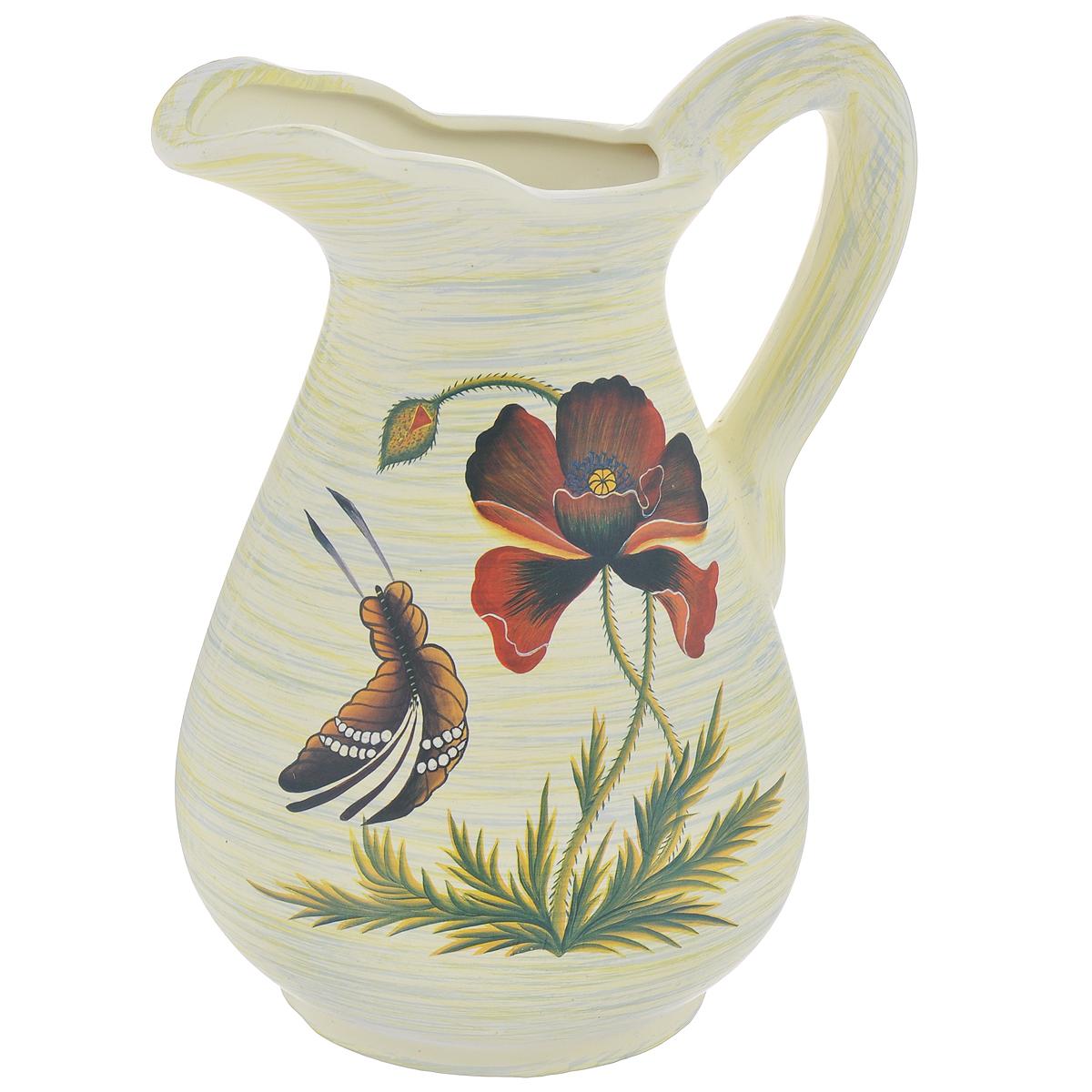 Ваза Lillo Маки и бабочка, высота 25 смFS-91909Элегантная ваза Lillo Маки и бабочка выполнена из высококачественной керамики в виде кувшина и декорирована рисунком. Она придется по вкусу и ценителям классики, и тем, кто предпочитает утонченность и изящность. Вы можете поставить вазу в любом месте, где она будет удачно смотреться и радовать глаз. Такая ваза подойдет и для цветов, и для декора интерьера. Кроме того - это отличный вариант подарка для ваших близких и друзей. Высота вазы: 25 см.Диаметр основания: 11,5 см.