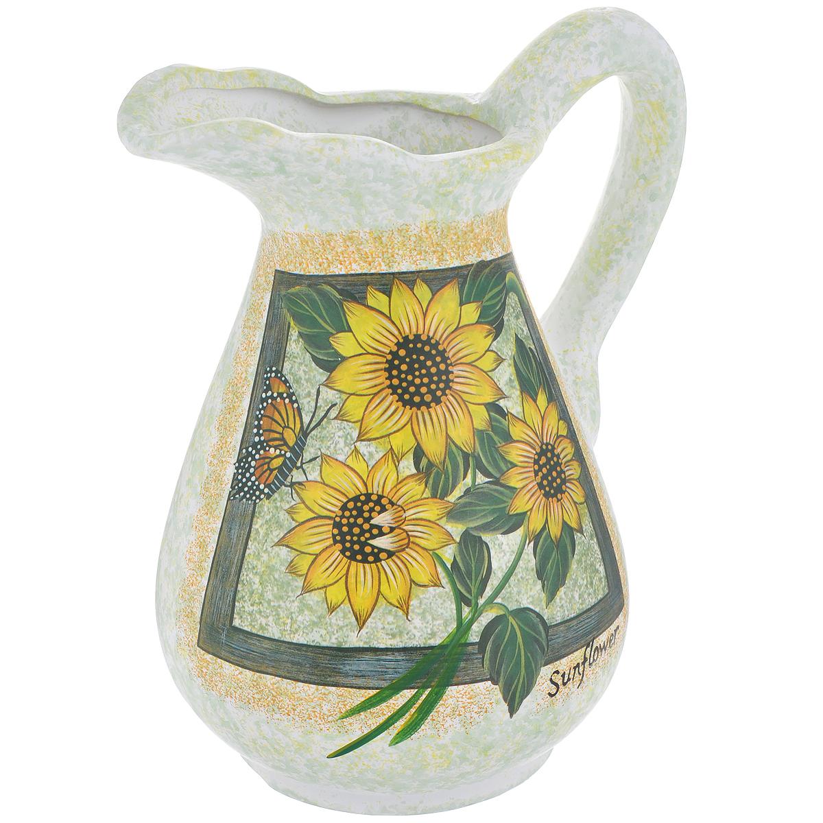 Ваза Lillo Солнечные цветы, высота 25 смFS-80423Элегантная ваза Lillo Солнечные цветы выполнена из высококачественной керамики в виде кувшина и декорирована рисунком. Она придется по вкусу и ценителям классики, и тем, кто предпочитает утонченность и изящность. Вы можете поставить вазу в любом месте, где она будет удачно смотреться и радовать глаз. Такая ваза подойдет и для цветов, и для декора интерьера. Кроме того - это отличный вариант подарка для ваших близких и друзей. Высота вазы: 25 см.Диаметр основания: 11,5 см.