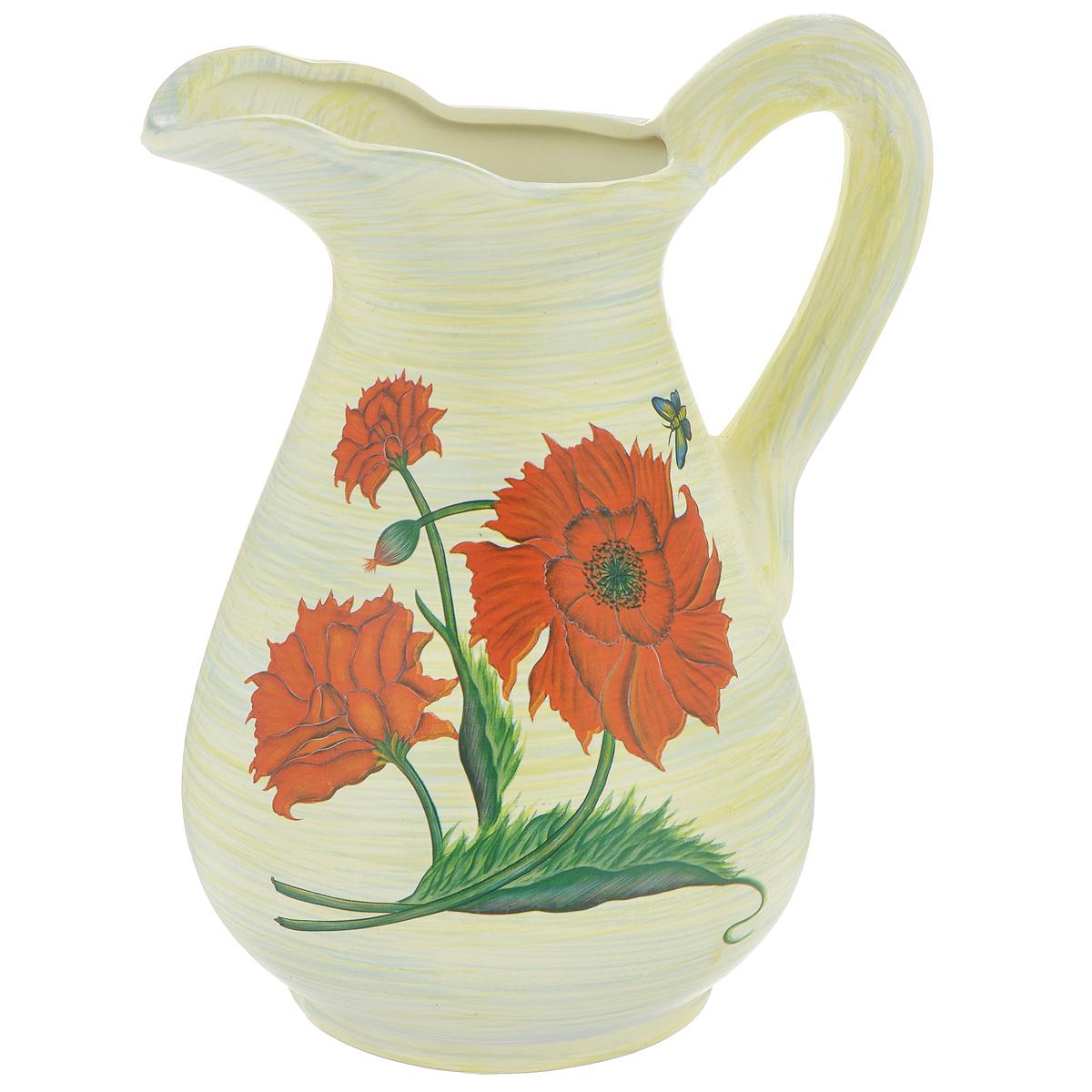 Ваза Lillo Красные цветы, высота 25 смFS-91909Элегантная ваза Lillo Красные цветы выполнена из высококачественной керамики в виде кувшина и декорирована рисунком. Она придется по вкусу и ценителям классики, и тем, кто предпочитает утонченность и изящность. Вы можете поставить вазу в любом месте, где она будет удачно смотреться и радовать глаз. Такая ваза подойдет и для цветов, и для декора интерьера. Кроме того - это отличный вариант подарка для ваших близких и друзей. Высота вазы: 25 см.Диаметр основания: 11,5 см.