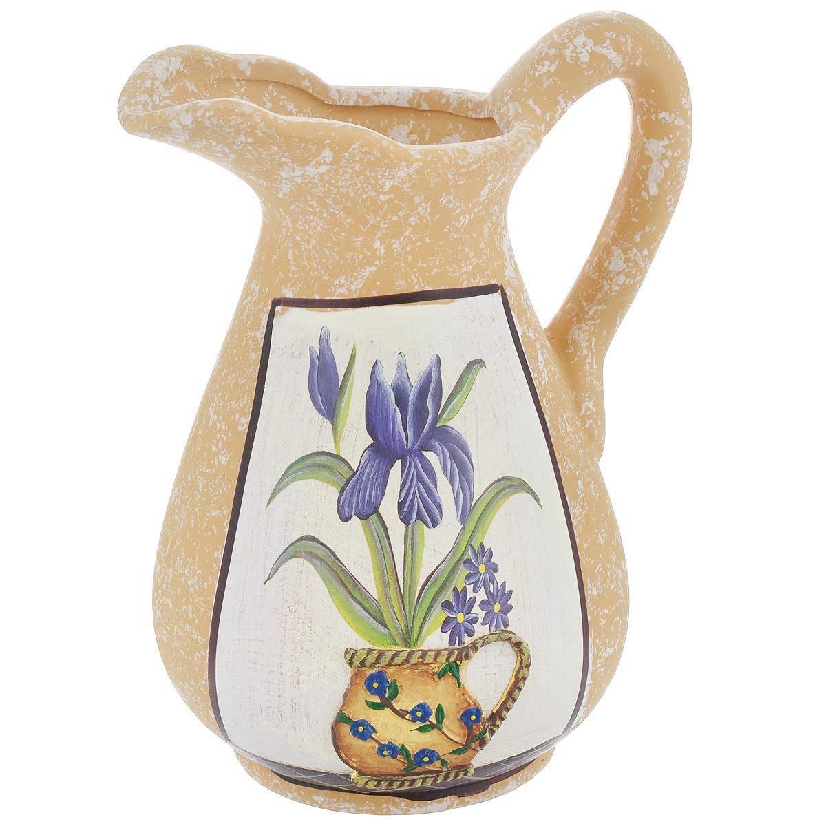 Ваза Lillo Ирисы, высота 25 смFS-91909Элегантная ваза Lillo Ирисы выполнена из высококачественной керамики в виде кувшина и декорирована рисунком. Она придется по вкусу и ценителям классики, и тем, кто предпочитает утонченность и изящность. Вы можете поставить вазу в любом месте, где она будет удачно смотреться и радовать глаз. Такая ваза подойдет и для цветов, и для декора интерьера. Кроме того - это отличный вариант подарка для ваших близких и друзей. Высота вазы: 25 см.Диаметр по верхнему краю: 6 см.Диаметр основания: 11,5 см.
