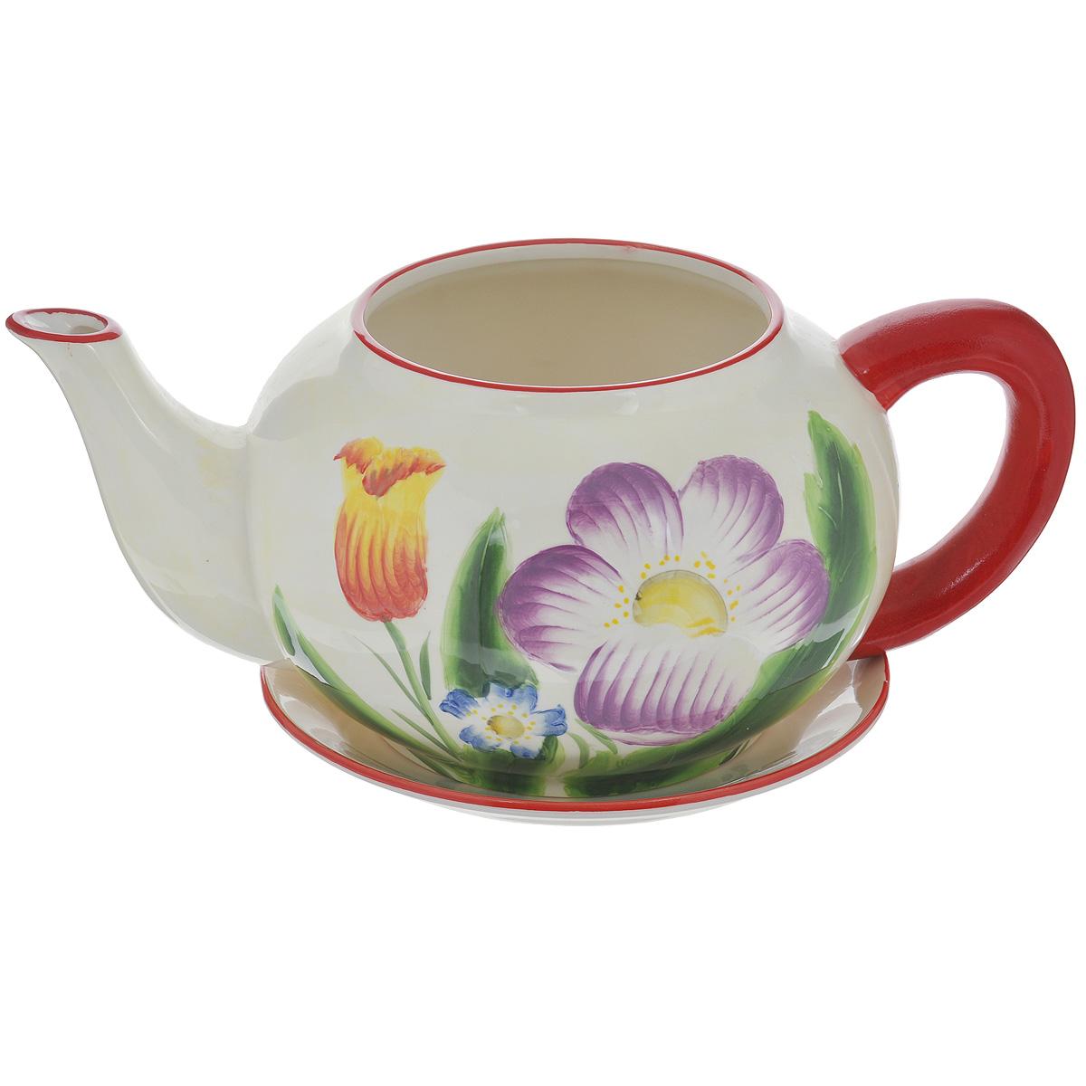 Кашпо Lillo Весенние цветы, с поддоном4607128374974Кашпо-горшок для цветов Lillo Весенние цветы выполнен из прочной керамики в виде заварочного чайника с блюдцем. Изделие предназначено для цветов.Такие изделия часто становятся последним штрихом, который совершенно изменяет интерьер помещения или ландшафтный дизайн сада. Благодаря такому кашпо вы сможете украсить вашу комнату, офис, сад и другие места. Изделие оснащено специальным поддоном - блюдцем.Диаметр кашпо по верхнему краю: 14,5 см.Высота кашпо (без учета поддона): 16 см.Диаметр поддона: 23 см.