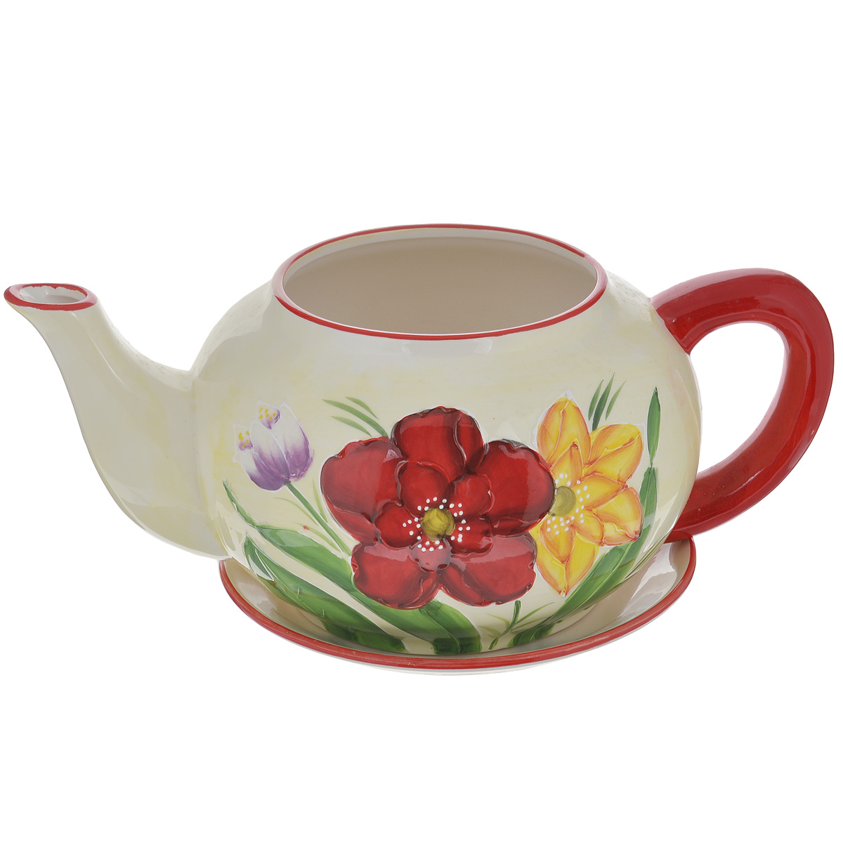 Кашпо Lillo Цветы, с поддономKOC_SOL373Кашпо-горшок для цветов Lillo Цветы выполнен из прочной керамики в виде заварочного чайника с блюдцем. Изделие предназначено для цветов.Такие изделия часто становятся последним штрихом, который совершенно изменяет интерьер помещения или ландшафтный дизайн сада. Благодаря такому кашпо вы сможете украсить вашу комнату, офис, сад и другие места. Изделие оснащено специальным поддоном - блюдцем.Диаметр кашпо по верхнему краю: 14,5 см.Высота кашпо (без учета поддона): 16 см.Диаметр поддона: 23 см.