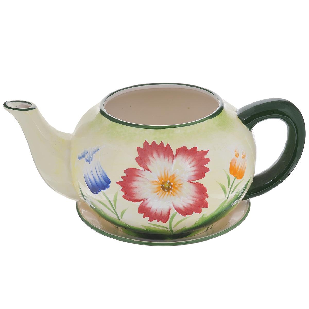 Кашпо Lillo Полевые цветы, с поддоном4612754052103Кашпо-горшок для цветов Lillo Полевые цветы выполнен из прочной керамики в виде заварочного чайника с блюдцем. Изделие предназначено для цветов.Такие изделия часто становятся последним штрихом, который совершенно изменяет интерьер помещения или ландшафтный дизайн сада. Благодаря такому кашпо вы сможете украсить вашу комнату, офис, сад и другие места. Изделие оснащено специальным поддоном - блюдцем.Диаметр кашпо по верхнему краю: 14,5 см.Высота кашпо (без учета поддона): 16 см.Диаметр поддона: 23 см.