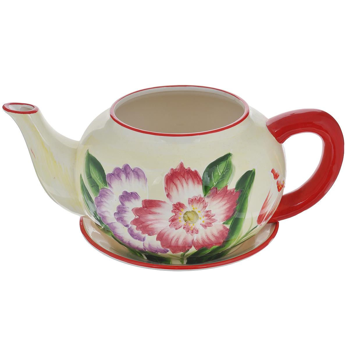 Кашпо Lillo Яркие цветы, с поддоном. XY10S012CBH-SI0439-WWКашпо-горшок для цветов Lillo Яркие цветы выполнен из прочной керамики в виде заварочного чайника с блюдцем. Изделие предназначено для цветов.Такие изделия часто становятся последним штрихом, который совершенно изменяет интерьер помещения или ландшафтный дизайн сада. Благодаря такому кашпо вы сможете украсить вашу комнату, офис, сад и другие места. Изделие оснащено специальным поддоном - блюдцем.Диаметр кашпо по верхнему краю: 14,5 см.Высота кашпо (без учета поддона): 16 см.Диаметр поддона: 23 см.