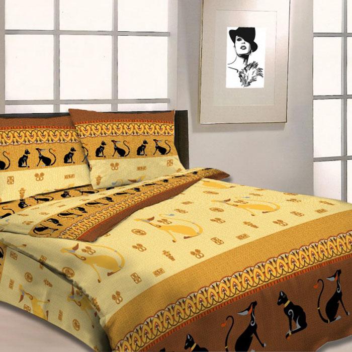 Комплект белья Letto Египетские кошки, евро, наволочки 70х70. B18-6CA-3505Комплект постельного белья Letto Египетские кошки выполнен из бязи (100% натурального хлопка). Комплект состоит из пододеяльника, простыни и двух наволочек. Постельное белье оформлено ярким красочным рисунком.Гладкая структура делает ткань приятной на ощупь, мягкой и нежной, при этом она прочная и хорошо сохраняет форму. Ткань легко гладится. Благодаря такому комплекту постельного белья вы сможете создать атмосферу роскоши и романтики в вашей спальне.Плотность: 125 г/м2.