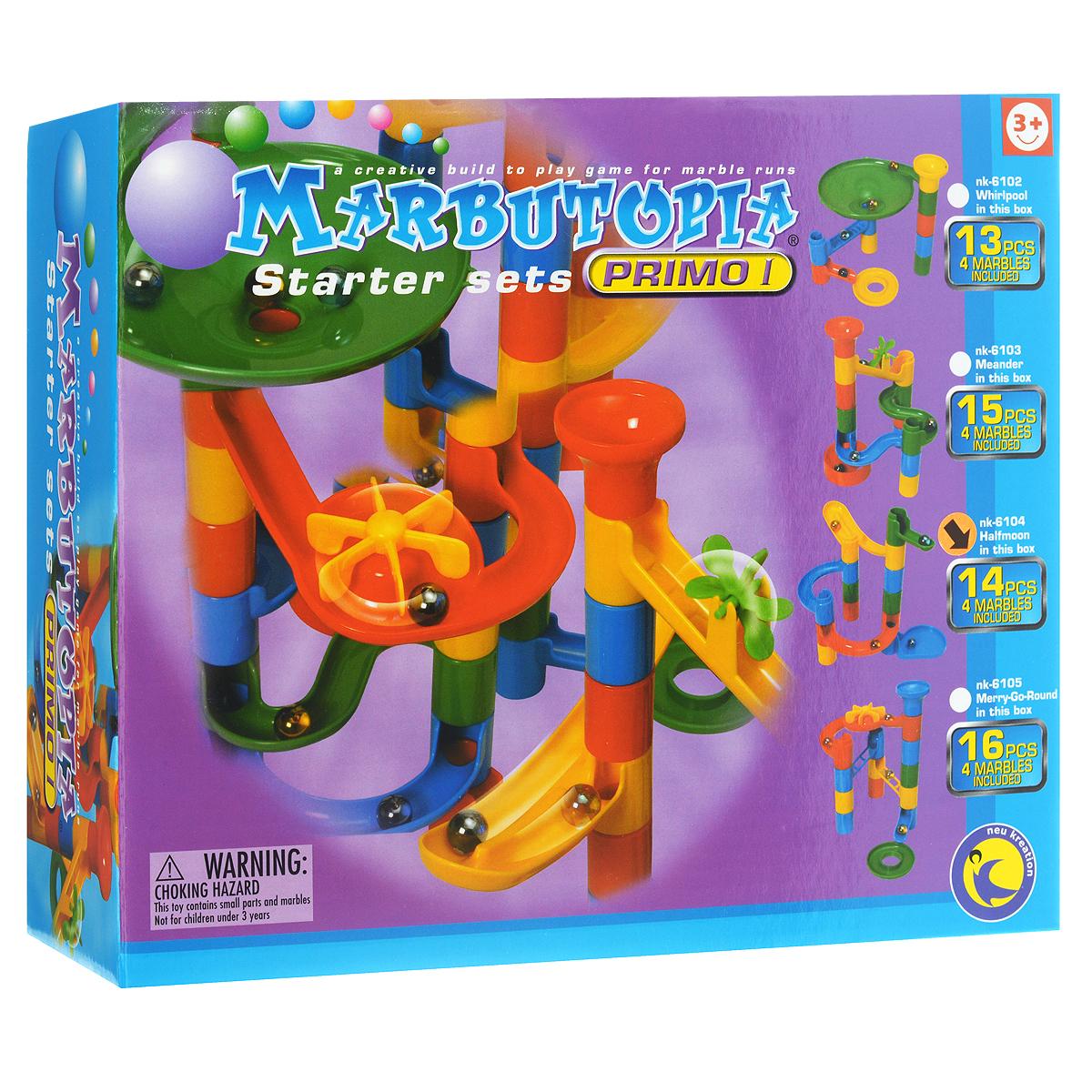 """Конструктор Marbutopia """"Полумесяц"""" - первый шаг ребенка в мир конструирования объемных лабиринтов. В данном комплекте имеются разноцветные пластиковые детали: желобки, круговые дорожки, """"петля"""", вертикальные трубки, 4 стеклянных шарика-хамелеона и другие. Основная задача - построить горку так, чтобы шарик не застревал, а скатывался вниз по дорожкам и виражам. Особенность конструктора заключается в том, что он позволяет ребенку строить бесконечные забавные лабиринты руководствуясь своей фантазией или по прилагаемой инструкции (2 варианта сборки лабиринта). Конструирование лабиринтов полезно для развития пространственного мышления и воображения. Также развивает координацию, моторику, концентрацию, планирование, стратегию, понятие причины и следствия. Раннее развитие этих навыков, как известно, существенно увеличивает академические и интеллектуальные способности ребенка. Набор """"Полумесяц"""" совместим с другими наборами серии """"Primo"""" благодаря чему вы всегда можете..."""