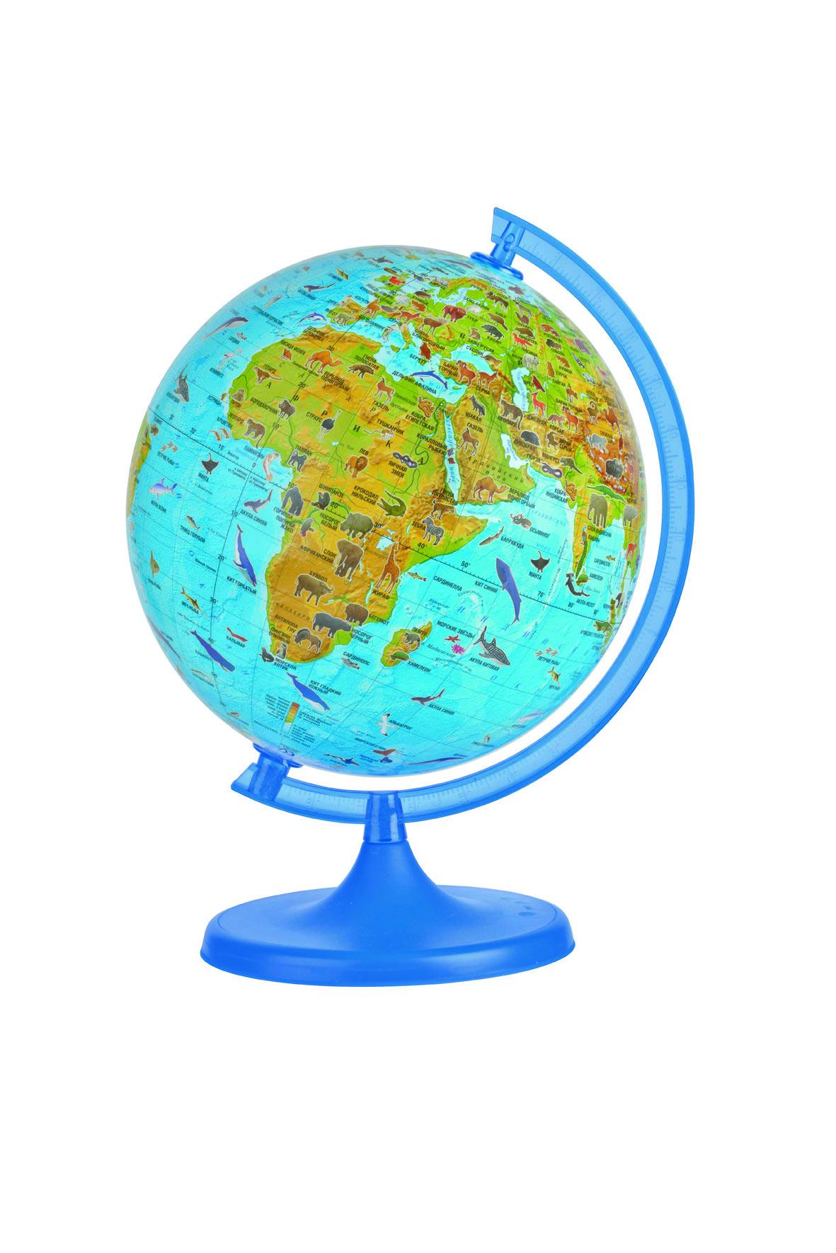 Глобус DMB, с зоологической картой мира, диаметр 22 см + Мини-энциклопедия Животный Мир Земли10063Зоологический глобус DMB изготовлен из высококачественногопрочного пластика. На сфере зоологического глобуса изображены материки и океаны, а также места проживания животных и рыб. На глобусе отображены самые известные животные, наиболее характерные для той или иной среды обитания. Изделие расположено на подставке. Географические названия на глобусе приведены на русском языке. Сделайте первый шаг в стимулирование своего обучения! К глобусу прилагается мини-энциклопедия Животный Мир Земли, которая обязательно поможет детям и их родителям открыть для себя что-то новое в изучении животного мира нашей удивительной планеты.Настольный глобус DMB станет оригинальным украшением рабочегостола или вашего кабинета. Это изысканная вещь для стильного интерьера,которая станет прекрасным подарком для современного преуспевающегочеловека, следующего последним тенденциям моды и стремящегося кэлегантности и комфорту в каждой детали.Высота глобуса с подставкой: 33 см.Диаметр глобуса: 22 см.Масштаб: 1:60 000 000.