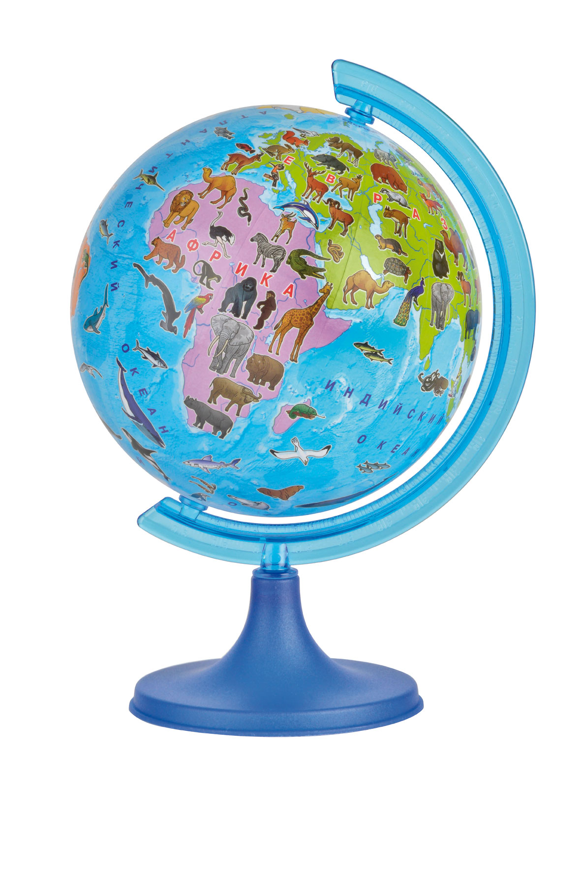 Глобус DMB Сафари, диаметр 16 см + Мини-энциклопедия Животный Мир Земли10170Глобус DMB Сафари изготовлен из высококачественногопрочного пластика в оригинальной, яркой цветной гамме, где все материки и океаны выполнены в ярких контрастных красках, что привлечет внимание и интерес ребенка. На глобусе отображены самые известные животные, наиболее характерные для той или иной среды обитания. Изделие расположено на подставке. Географические названия на глобусе приведены нарусском языке. Сделайте первый шаг в стимулирование своегообучения! К глобусу прилагается мини-энциклопедия Животный Мир Земли, которая обязательно поможет детям и их родителям открыть для себя что-то новое в изучении животного мира нашей удивительной планеты.Настольный глобус DMB Сафари станет оригинальным украшением рабочегостола или вашего кабинета. Это изысканная вещь для стильного интерьера,которая станет прекрасным подарком для современного преуспевающегочеловека, следующего последним тенденциям моды и стремящегося кэлегантности и комфорту в каждой детали.Высота глобуса с подставкой: 24 см.Диаметр глобуса: 16 см.Масштаб: 1:80 000 000.