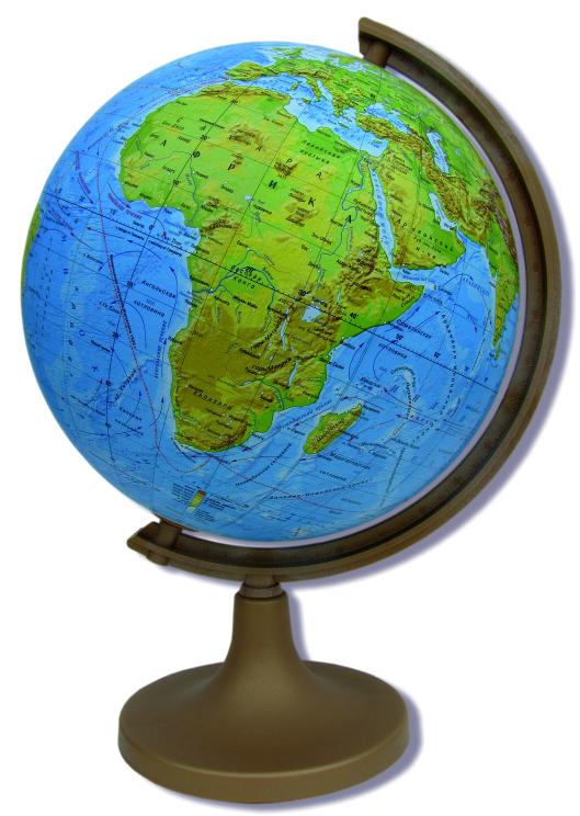 Глобус DMB, c физической картой мира, диаметр 25 см + Мини-энциклопедия Физическая география ЗемлиRG32/PH/LФизический глобус DMB, изготовленный из высококачественного прочного пластика, показывает географические особенности нашей планеты Земля: горы, леса, пустыни, долины. Изделие расположено на подставке. На нем отображены картографические линии: параллели и меридианы, линия перемены дат, особенности климата и растительности, рельефы морского дна и суши. Глобус с физической картой мира станет незаменимым атрибутом обучения не только школьника, но и студента. Названия стран на глобусе приведены нарусском языке. Ничто так не обеспечивает всестороннего и детальногоизучения устройства мира в таком сжатом и объемном образе,как физический глобус. Сделайте первый шаг в стимулирование своегообучения! К глобусу прилагается мини-энциклопедия Физическая география Земли с кратким описанием важных географических объектов. Настольный глобус DMB станет оригинальным украшением рабочегостола или вашего кабинета. Это изысканная вещь для стильного интерьера,которая станет прекрасным подарком для современного преуспевающегочеловека, следующего последним тенденциям моды и стремящегося кэлегантности и комфорту в каждой детали.Высота глобуса с подставкой: 40 см.Диаметр глобуса: 25 см.Масштаб: 1:50 000 000.