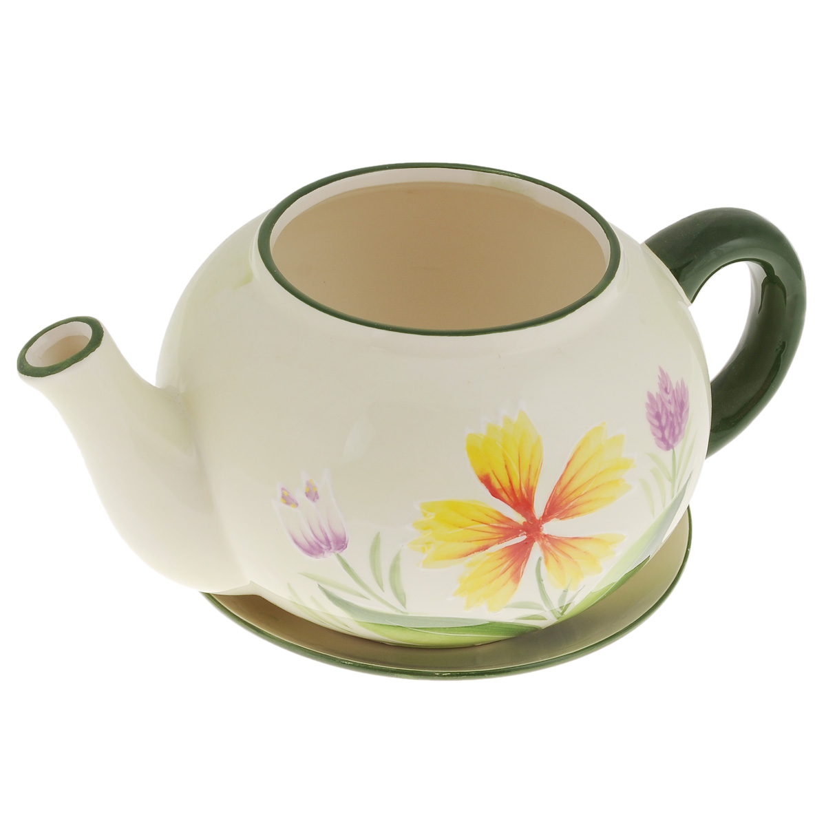 Кашпо Lillo Заварочный чайник, с поддоном. XY10S015-1BKOC_SOL373Кашпо-горшок для цветов Lillo Заварочный чайник выполнен из прочной керамики и декорирован красочным рисунком. Изделие предназначено для цветов.Такие изделия часто становятся последним штрихом, который совершенно изменяет интерьер помещения или ландшафтный дизайн сада. Благодаря такому кашпо вы сможете украсить вашу комнату, офис, сад и другие места. Изделие оснащено специальным поддоном - блюдцем.Диаметр кашпо по верхнему краю: 12 см.Высота кашпо (без учета поддона): 14 см.Диаметр поддона: 20,5 см.