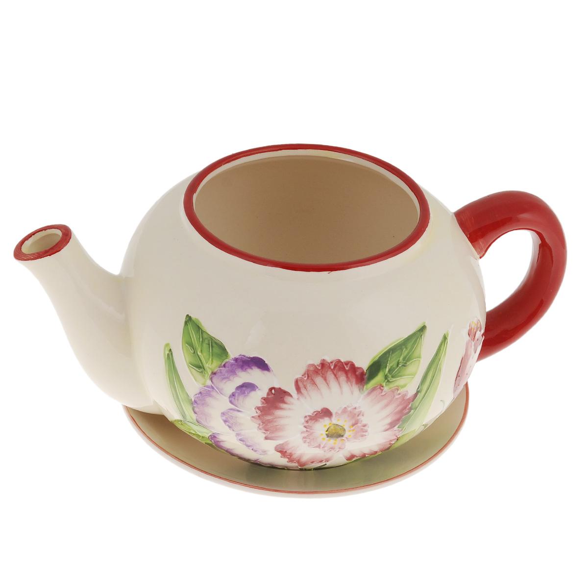 Кашпо Lillo Заварочный чайник, с поддоном. XY10S015-1CGPR10-06-CКашпо-горшок для цветов Lillo Заварочный чайник выполнен из прочной керамики и декорирован красочным рисунком. Изделие предназначено для цветов.Такие изделия часто становятся последним штрихом, который совершенно изменяет интерьер помещения или ландшафтный дизайн сада. Благодаря такому кашпо вы сможете украсить вашу комнату, офис, сад и другие места. Изделие оснащено специальным поддоном - блюдцем.Диаметр кашпо по верхнему краю: 12 см.Высота кашпо (без учета поддона): 14 см.Диаметр поддона: 20,5 см.
