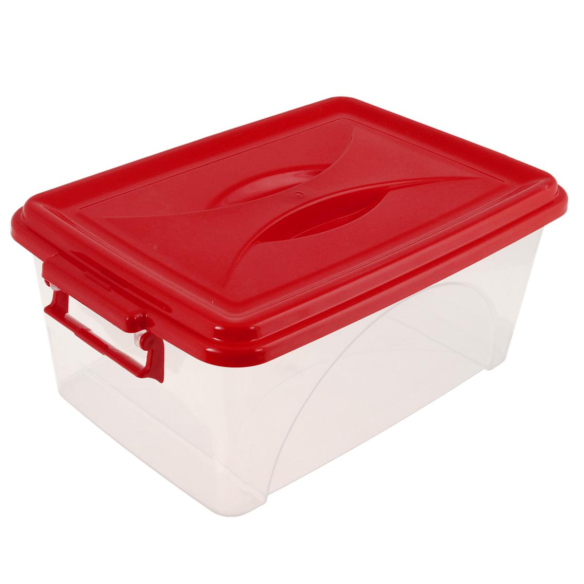 Контейнер Альтернатива, цвет: красный, 7,5 л74-0140Контейнер Альтернатива выполнен из прочного пластика. Он предназначен для хранения различных мелких вещей. Крышка легко открывается и плотно закрывается. Прозрачные стенки позволяют видеть содержимое. По бокам предусмотрены две удобные ручки, с помощью которых контейнер закрывается.Контейнер поможет хранить все в одном месте, а также защитить вещи от пыли, грязи и влаги.