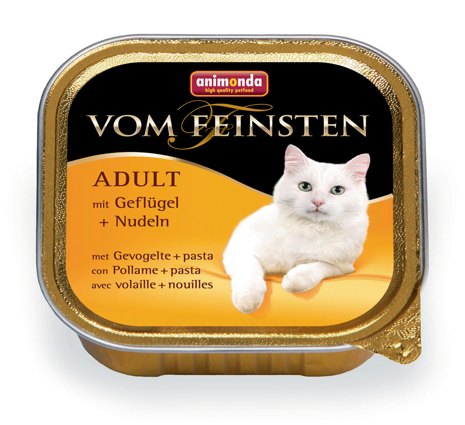 Консервы Animonda Vom Feinsten для взрослых кошек, с домашней птицей и пастой, 100 г4910Влажные корма Animonda Vom Feinsten содержат отборные сорта мяса,комбинированные со специальными ингредиентами. Консервы - восхитительнаяеда, которая обещает много удовольствия и ценится кошачьими гурманами вовсем мире, это линия полноценных сбалансированных консервированных кормов,которая удовлетворит запросы самых требовательных кошек. Неповторимыйуникальный рецепт этих консервов поможет подарить Вашей любимице океаннаслаждения и море вкуса. Состав: мясо и мясные продукты 60% (домашняя птица 25%, говядина, свинина),бульон, минералы.Анализ: белок 10,5%, жир 5%, клетчатка 0,4%, зола 1,4%, влажность 81%. Добавки (на 1 кг продукта): витамин D3 200 МЕ, витамин Е (a-токоферол) 30 мг.Вес: 100 г.Товар сертифицирован.