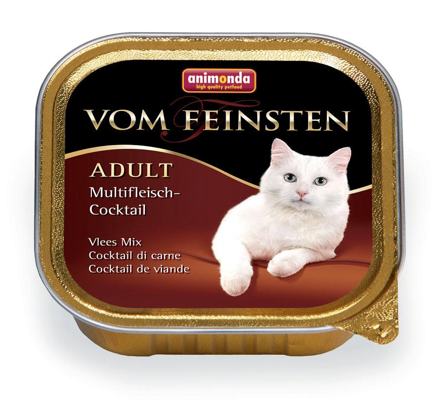 Консервы Animonda Vom Feinsten для взрослых кошек, с мясным коктейлем, 100 г0120710Влажные корма Animonda Vom Feinstenсодержат отборные сорта мяса, комбинированные со специальными ингредиентами. Консервы - восхитительная еда, которая обещает много удовольствия и ценится кошачьими гурманами во всем мире, это линия полноценных сбалансированных консервированных кормов, которая удовлетворит запросы самых требовательных кошек.Состав: мясо и мясные продукты 63% (говядина 23%, ягненок 10%, индейка 10%, курица 10%, кролик 10%), бульон, минералы.Анализ: белок 11%, жир 5%, клетчатка 0,3%, зола 1,6%, влажность 81%.Добавки (на 1 кг продукта): витамин D3 200 МЕ, витамин Е (a-токоферол) 30 мг. Вес: 100 г.Товар сертифицирован.