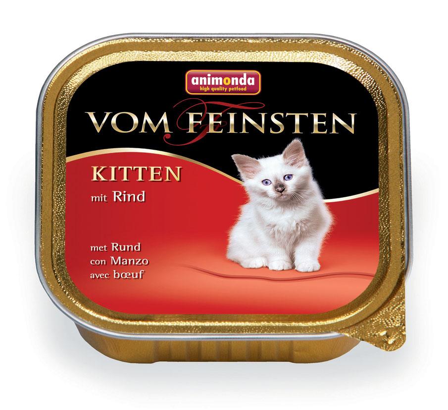 Консервы для котят Animonda Vom Feinsten, с говядиной, 100 г46679Консервы Animonda Vom Feinsten - это консервированное полноценное и деликатесное питание на основе отборного мяса в комбинации со специальными ингредиентами для котят высшего качества.Состав: мясо и мясные продукты 63% (говядина 25%, курица, свинина), бульон, минералы.Анализ: белок 10%, жир 7%, клетчатка 0,3%, зола 2%, влажность 81%.Добавки (на 1 кг продукта): витамин D3 200 МЕ, витамин Е (a-токоферол) 30 мг. Вес: 100 г.Товар сертифицирован.