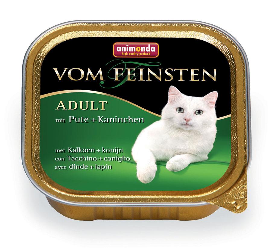 Консервы Animonda Vom Feinsten для взрослых кошек, с индейкой и кроликом, 100 г0120710Консервы Animonda Vom Feinsten - восхитительная еда, которая обещает многоудовольствия и ценится кошачьими гурманами во всем мире. Этот удивительноаппетитный консервированный корм имеет изысканную и насыщенную структуру,что очень нравится кошкам, а богатое сочетание различных сортов мясадобавляет пикантности этому блюду. Формула тщательно продумана, чтобыобеспечить все потребности питомца: комплекс витаминов, минералов имикроэлементов позаботится о крепком здоровье, блестящей шерсти ипрекрасном пищеварении. Состав: мясо и мясные продукты 63% (свинина, индейка 25%, кролик 8%), бульон,минералы.Анализ: белок 11%, жир 5%, клетчатка 0,3%, зола 1,6%, влажность 81%. Добавки (на 1 кг продукта): витамин D3 200 МЕ, витамин Е (a-токоферол) 30 мг.Вес: 100 г.Товар сертифицирован.