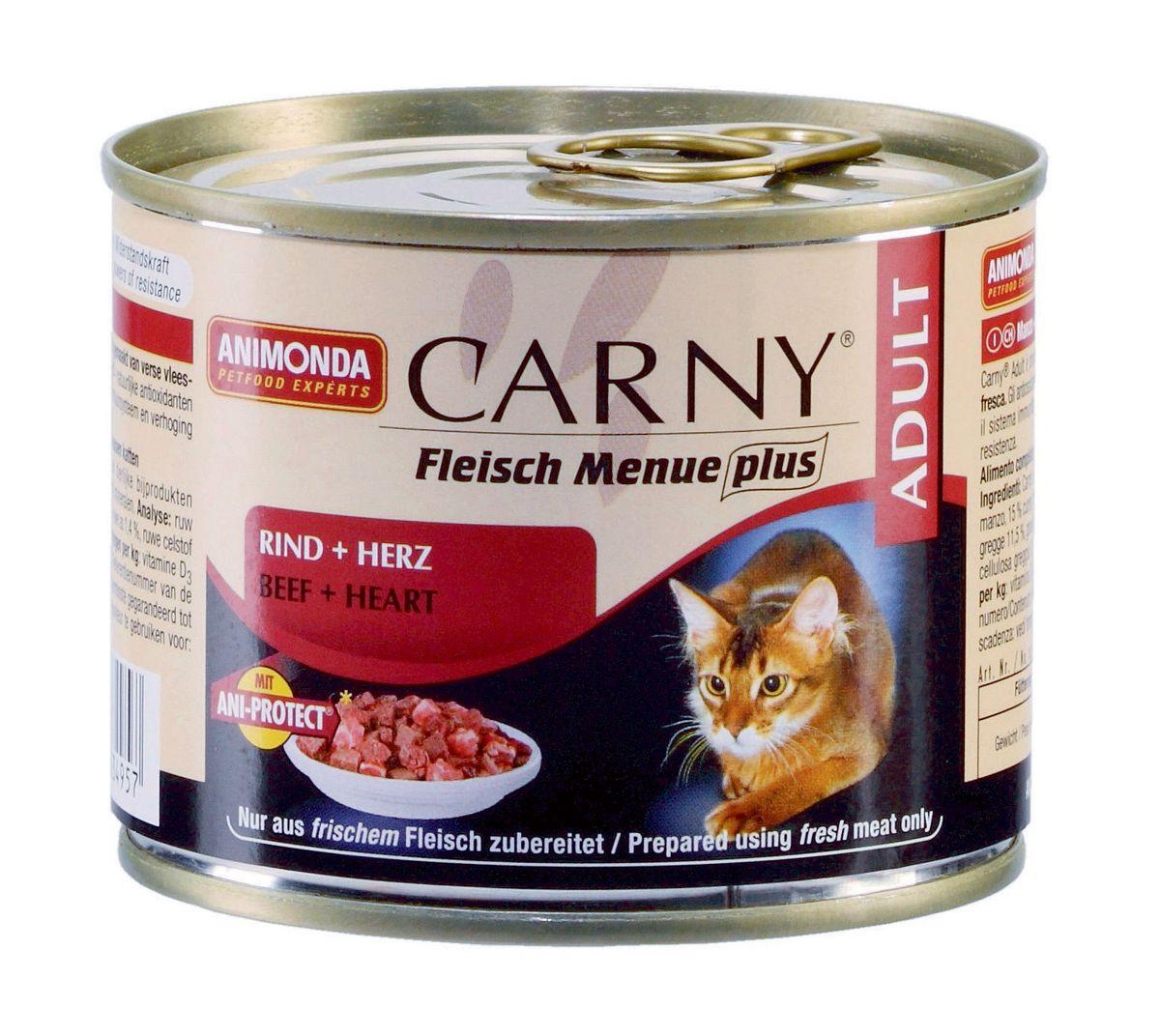 Консервы Animonda Carny для взрослых кошек, с говядиной и сердцем, 200 г101246Кошки большие любители мяса и не обманывают себя, когда речь идет о качестве. Свежие, нежные, сочные и вкусные консервы не требуют никаких дополнительных добавок или вспомогательных средств для улучшения внешнего вида и вкуса. Гарантировано отсутствие в составе продукта сои, искусственных красителей, консервантов и генетически модифицированного сырья. Корм имеет естественный, подлинный и типичный вкус мяса. Все ингредиенты, используемые при производстве, объявлены полностью открытыми и соответствуют описанию. Консервы Animonda Carny подвергаются дополнительной обработке для придания волокнам мяса более мягкой структуры. Специально разработан для удовлетворения потребностей кошек старше 7 лет.Состав: говядина 53% (говядина, печень, легкие, почки, вымя), бульон 31%, сердце 15%, карбонат кальция.Анализ: белок 11,5%, жир 5%, клетчатка 0,3%, зола 1,4%, влажность 79%.Добавки (на 1 кг продукта): витамин D3 250 МЕ, витамин Е (a-токоферол) 30 мг. Вес: 200 г.Товар сертифицирован.