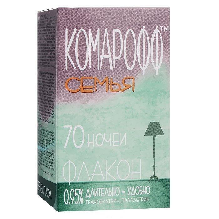 Жидкость от летающих насекомых Комарофф Семья, без запаха, 70 ночей, 45 млNN-627-LS-RЖидкостной комплект Комарофф состоит из флакона с жидкостью от комаров и электронагревательного прибора. Легкое в применении, средство особенно удобно как для первичной покупки, так и для повторной, например, для второй комнаты. Электроприбор универсален: подходит как для жидкости, так и для пластин. Жидкостной комплект из серии «Защита» от комаров – это эффективное и безопасное средство борьбы с летающими насекомыми. Действующее вещество – праллетрин (0,7%); без запаха. Флакон (45 мл) рассчитан на применение в течение 70 ночей; действие проявляется через 10-15 минут после включения электроприбора с жидкостным флаконом в электрическую розетку. Характеристики:Объем флакона: 45 мл. Состав: трансфлутрин - 0,15%, праллетрин - 0,8%, растворитель, стабилизатор. Товар сертифицирован.