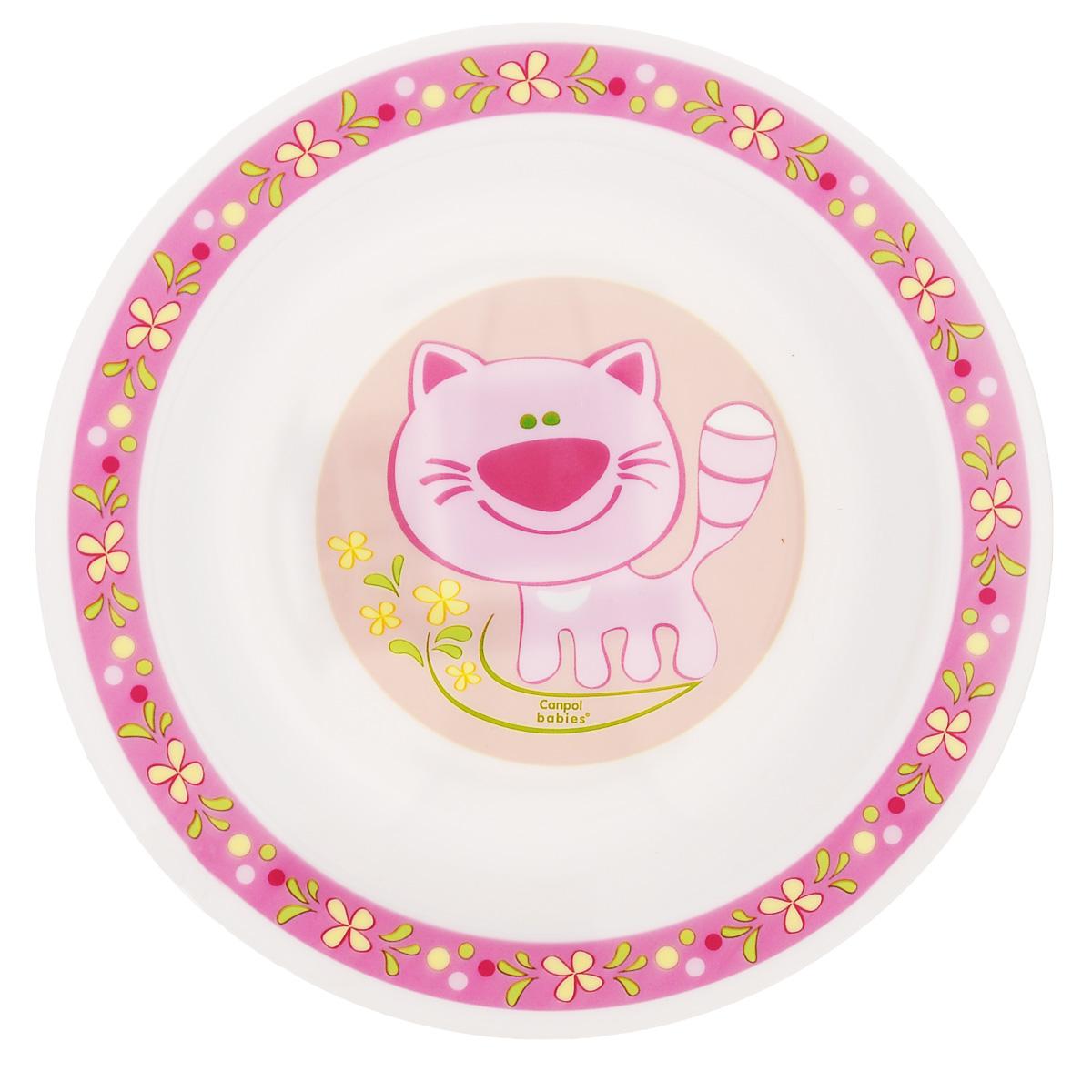 Canpol Babies Тарелка детская глубокая Кот цвет розовый диаметр 18 см4/412_розовый/котДетская глубокая тарелка Canpol Babies Розовый кот идеально подойдет для кормления малыша и самостоятельного приема им пищи.Тарелочка выполнена из высококачественного полипропилена, дно оформлено изображением розового котика. Не предназначена для разогрева сильно жирной пищи.Объем тарелки: 270 мл.
