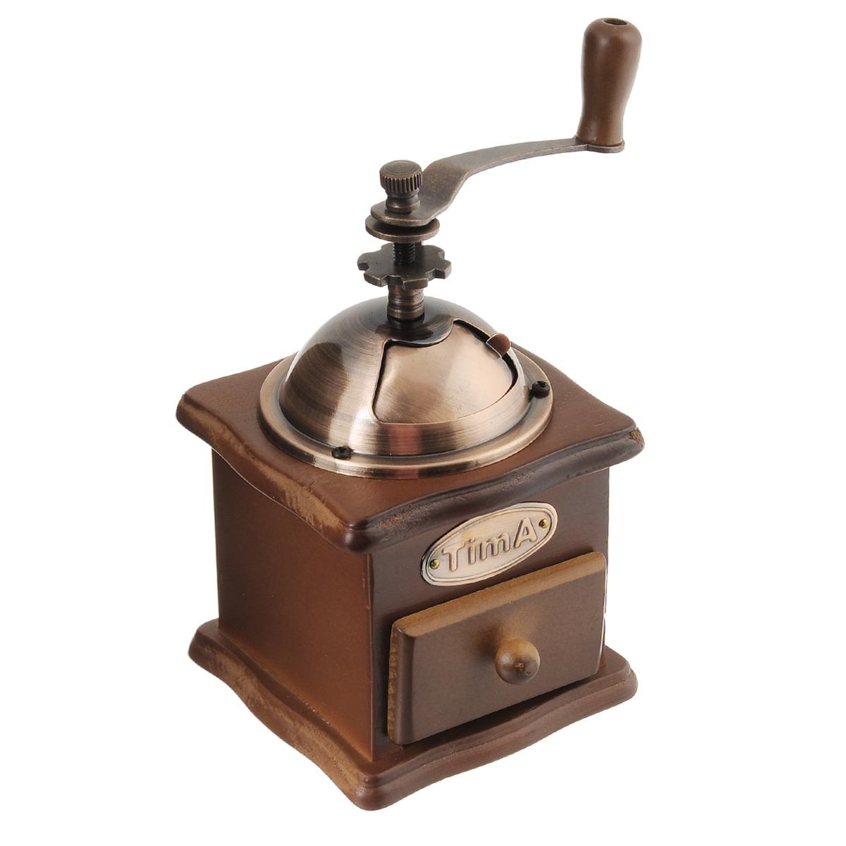 Кофемолка ручная TimA. SL-008115510Ручная кофемолка TimA, выполненная из дерева и металла, сочетает в себе эстетичность и функциональность. Она оснащена выдвижным деревянным ящичком для молотого кофе, металлической воронкой и удобной элегантной ручкой для помола. Изделие снабжено внутренним керамическим механизмом. Вы сможете регулировать степень помола от мелкого до крупного. Инструкция по регулировке степени помола имеется на упаковке изделия. Такая кофемолка станет незаменимым помощником на вашей кухне.Высота кофемолки: 16 см.Размер основания кофемолки: 10 см х 10 см.