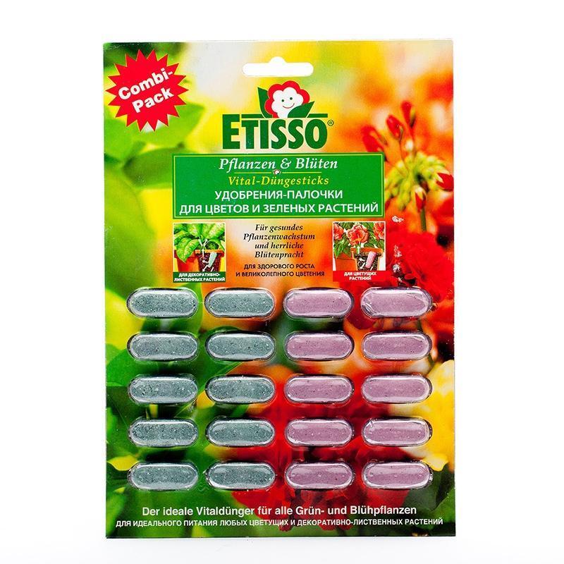 Дозированные комплексные удобрения-палочки Etisso, для цветов и зеленных растений, 20 шт4013441400281Удобрения-палочки Etisso для цветов и зеленых растений - это идеальное полное комплексное удобрение для любых цветущих и зеленых растений в доме и на балконе. Состав питательных веществ соответствует всем потребностям растений и состоит из гармоничной смеси органических и неорганических питательных веществ. С палочками ваша забота о растениях становится надежной, быстрой и легкой. Без опасности сжечь растения - передозировка исключена при правильном применении! Поступление питательных веществ от палочек происходит при каждом поливе. Таким образом, вы достигаете самым простым способом оптимального дозирования и продолжительного (до 6 недель) полноценного питания растений. Характеристики:Массовая доля питательных веществ: для цветущих - азот (общий) - 4,7%; фосфор водорастворимый - 8,1%; калий водорастворимый - 15,9%; магний (MgO) - 0,13%, микроэлементы (железо, медь, марганец, цинк, бор). Массовая доля питательных веществ: для зеленых растений - азот (общий) -7,6%; фосфор водорастворимый - 5,0%; калий водорастворимый - 11,6%; магний (MgO) - 1,35%, микроэлементы (железо, медь, марганец, цинк, бор). Вес: 60 г. Размер упаковки: 16 см х 23 см х 1 см. Комплектация: 20 шт. Артикул: 1212-184.