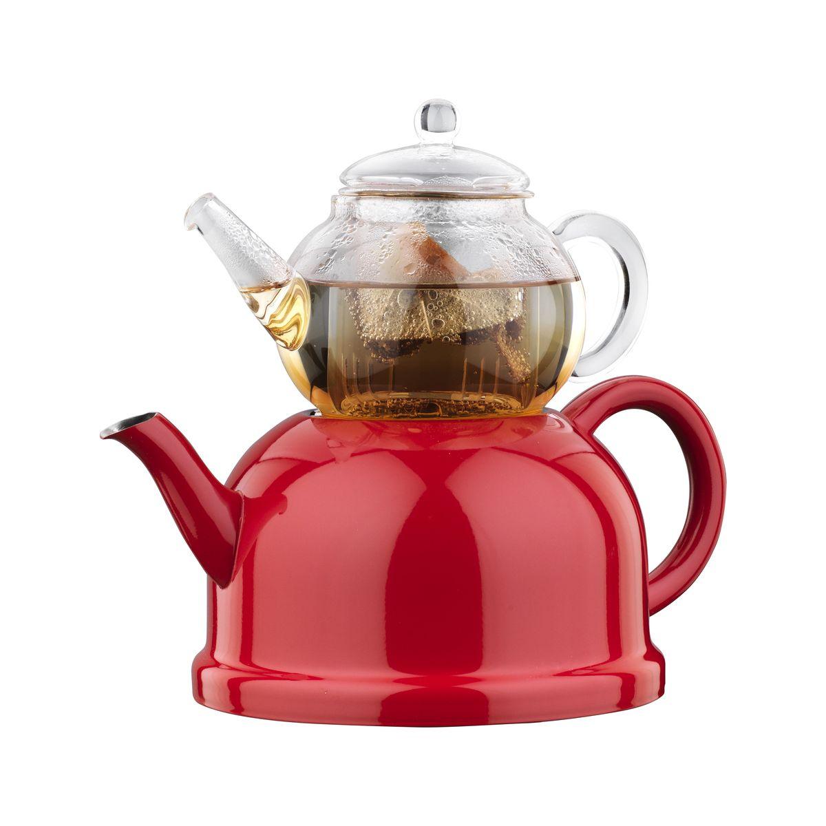 Чайная пара Korkmaz Nosta Midi: чайник, заварник, цвет: прозрачный, красный115510Чайная пара Korkmaz Nosta Midi состоит из чайника и заварника. Чайник изготовлен из высокопрочной хромо-никелевой нержавеющей стали марки 18/10. Индукционное дно обеспечивает наилучшее распределение и сохранение тепла. Термоустойчивость поверхности чайника к высоким температурам. Заварник изготовлен из экологически-чистого высококачественного боросиликатного стекла. Стеклянный заварник выдерживает температуру от -20°С до +150°С. Чайник и заварник оснащены удобными эргономичными ручками и крышками. Современный, стильный дизайн и округлый силуэт чайной пары Korkmaz Nosta Midi придают посуде эстетичный вид. Внешняя поверхность чайника имеет цветное покрытие, а внутренняя поверхность - матовая. Отполированная до блеска поверхность длительное время сохраняет яркость. Для компактного хранения заварник ставится сверху на чайник.Чайник можно использовать на газовых, электрических, стеклокерамических, галогенных, индукционных плитах. Можно мыть в посудомоечной машине. Во время мытья не следует применять жесткую металлическую щетку или агрессивные моющие средства во избежание появления царапин и потери блеска поверхности. Объем чайника: 800 мл. Объем заварника: 300 мл. Внутренний диаметр чайника по верхнему краю: 5 см. Внешний диаметр чайника по верхнему краю: 7,5 см. Диаметр основания чайника: 15 см. Высота чайника (с учетом крышки): 14,5 см. Внутренний диаметр заварника по верхнему краю: 5,5 см. Диаметр основания заварника: 7 см. Высота заварника (с учетом крышки): 11 см.