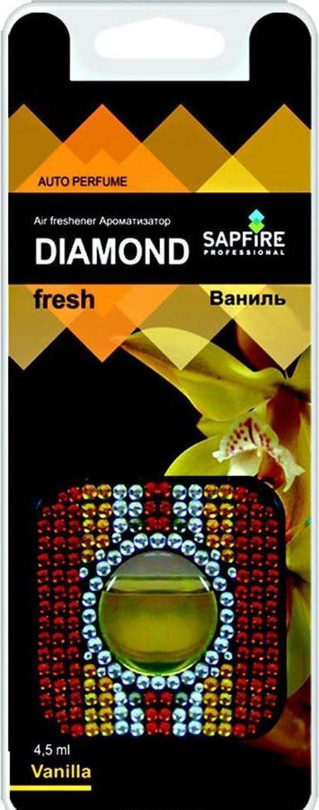 Ароматизатор в дефлектор Sapfire Diamond Fresh, ваниль16CAR37Автомобильный освежитель воздуха Sapfire Diamond Fresh имеет приятный аромат ванили. Ароматизатор, изготовленный с использованием современной мембранной технологии, - это безопасно, удобно и гарантирует длительную работу, без риска пролить жидкое содержимое. Корпус ароматизатора квадратной формы, выполнен из пластика и украшен цветными стразами. Крепится ароматизатор на дефлектор в автомобиле. Состав: парфюмерная композиция, гель, пластик, алюминиевая фольга. Размер ароматизатора: 5,5 см х 5,5 см х 1 см.