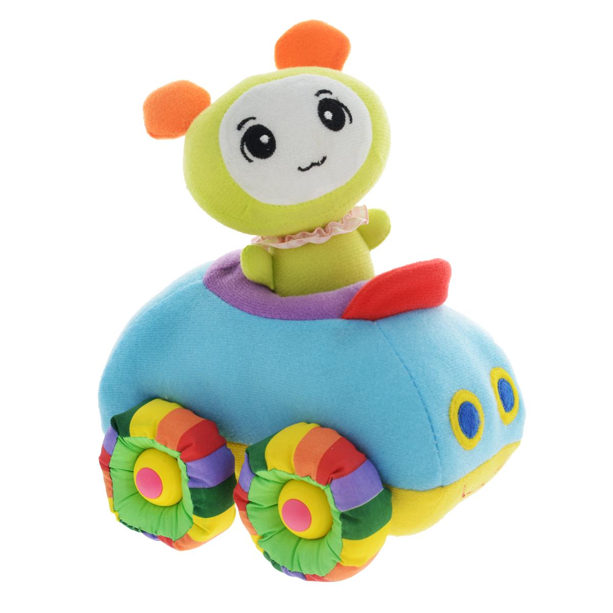 Мягкая озвученная игрушка Tongde Радужный транспорт, с фигуркой. В72426 мягкая озвученная игрушка tongde фронтальный погрузчик в72429