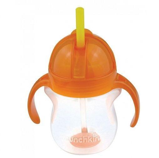 Munchkin поильник Click Lock с трубочкой и с ручками 207 мл. 6+, цвет: оранжевый