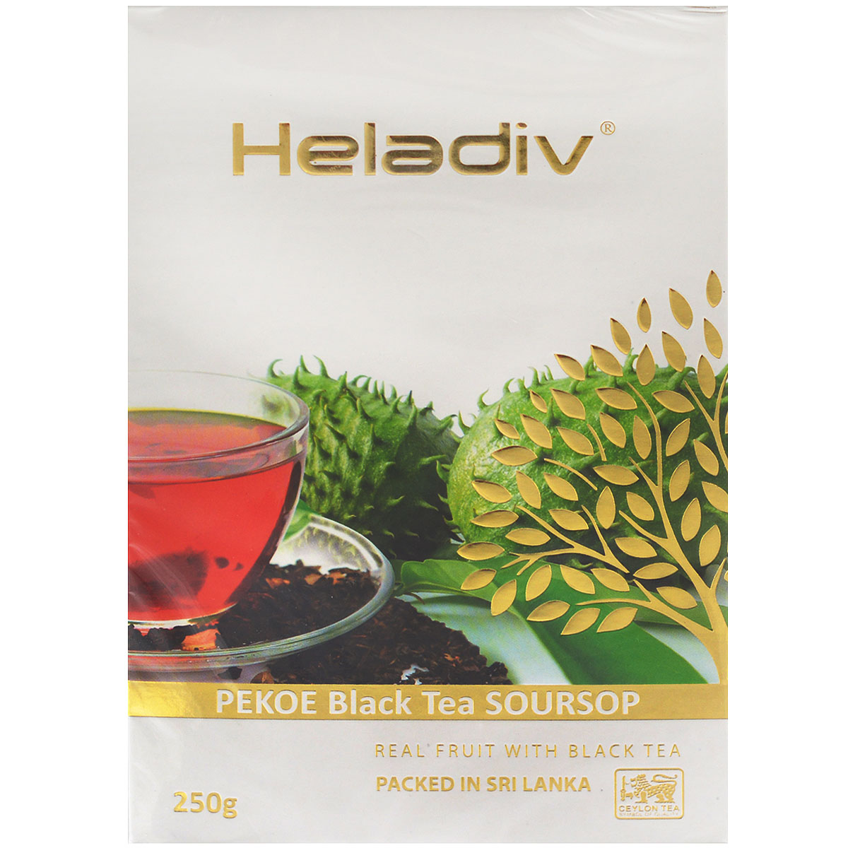 Heladiv Pekoe Black Soursop черный листовой чай с саусепом, 250 г0120710Heladiv PekoeBlack Soursop - настоящий цейлонский черный чай Пеко с с натуральным ароматизатором и кусочками саусепа.
