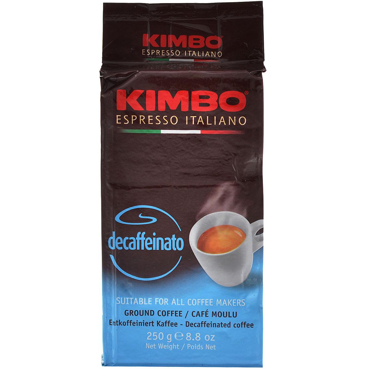Kimbo Decaffeinato кофе молотый, 250 г101246Натуральный жареный молотый кофе Kimbo Decaffeinato. Великолепный итальянский кофе без кофеина, который сохранил насыщенный аромат и богатый вкус классического эспрессо.