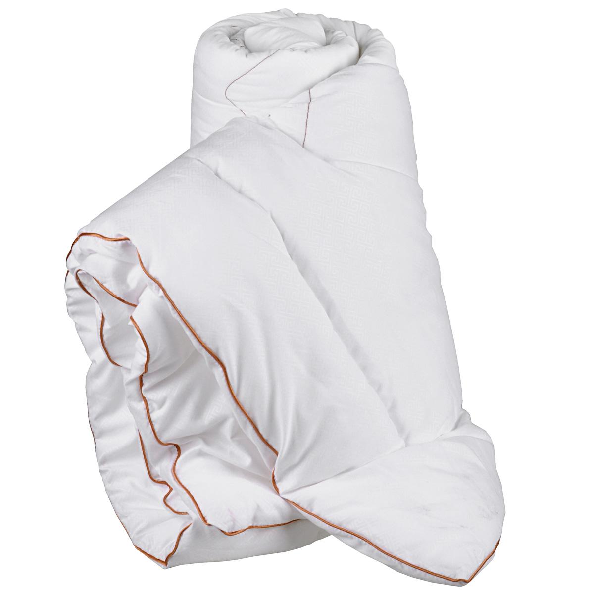 Одеяло Primavelle Afina, наполнитель: лебяжий пух, 172 см х 205 см012H1800Одеяло Primavelle Afina - стильная и комфортная постельная принадлежность, которая подарит уют и позволит окунуться в здоровый и спокойный сон. Чехол одеяла выполнен из однотонной бархатистой ткани биософт с тисненым рисунком, украшен декоративной ниточной стежкой греческие узоры и атласным кантом шоколадного цвета. Чехол также имеет специальную обработку Peach-эффект, благодаря которой ткань становится нежной и приобретает бархатистую фактуру. Внутри - наполнитель из искусственного лебяжьего пуха, который является аналогом натурального пуха и представляет собой сверхтонкое волокно нового поколения. Благодаря этому одеяло очень мягкое и легкое, не накапливает пыль и запахи. Важным преимуществом является гипоаллергенность наполнителя, поэтому одеяло отлично подходит как взрослым, так и детям. Легкое и объемное, оно имеет среднюю степень теплоты и отличную терморегуляцию: под ним будет тепло зимой и не жарко летом. Одеяло просто в уходе, подходит для машинной стирки, быстро сохнет, отличается износостойкостью и практичностью. Окунитесь в мир Древней Эллады вместе с одеялом Afina. Материал чехла: биософт (100% полиэстер). Наполнитель: лебяжий пух (100% полиэстер). Степень теплоты: 3. Размер: 172 см х 205 см.