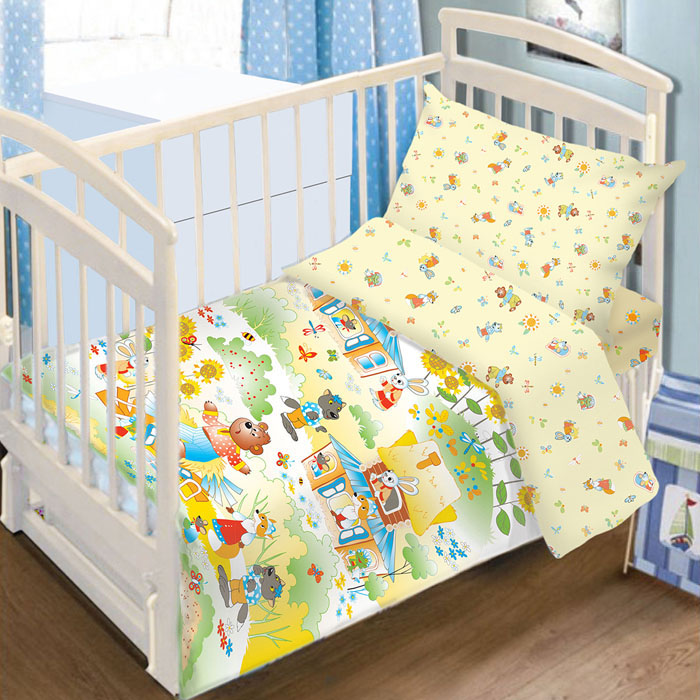 Комплект детского постельного белья Baby Nice Теремок, цвет: желтый, 3 предмета00000004379Детский комплект постельного белья Baby Nice Теремок состоит из наволочки, пододеяльника и простыни на резинке. Такой комплект идеально подойдет для кроватки вашего малыша и обеспечит ему здоровый сон. Он изготовлен из натурального 100% хлопка, дарящего малышу непревзойденную мягкость. Натуральный материал не раздражает даже самую нежную и чувствительную кожу ребенка, обеспечивая ему наибольший комфорт. Простыня с помощью специальной резинки растягивается на матрасе. Она не сомнется и не скомкается, как бы не вертелся ребенок. Приятный рисунок комплекта, несомненно, понравится малышу и привлечет его внимание. На постельном белье Baby Nice Теремок ваша кроха будет спать здоровым и крепким сном.В комплект входит подарок: книжка-раскраска по мотивам русских народных сказок.