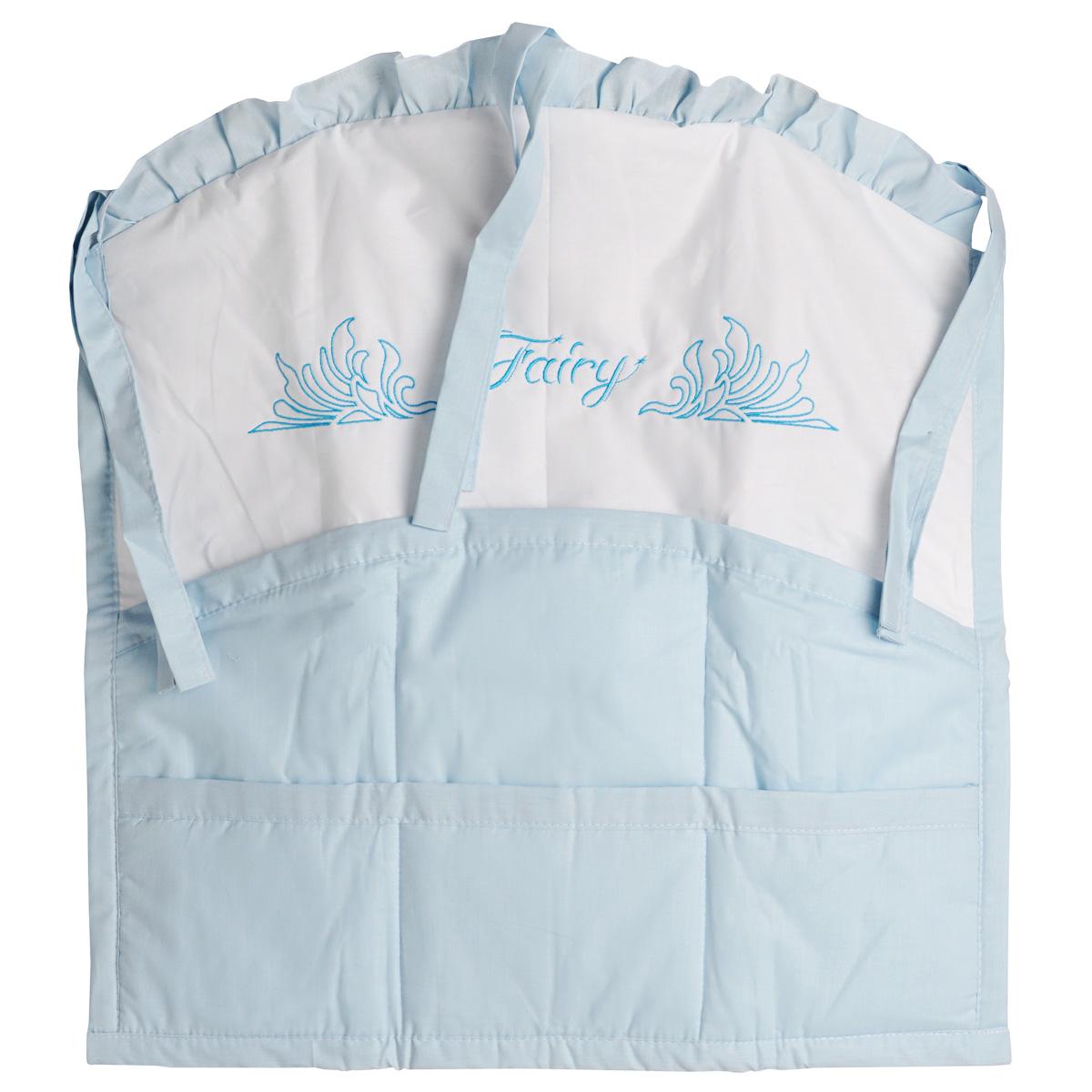 Карман на кроватку Fairy Сладкий сон, цвет: белый, голубой, 59 см х 60 см сумка для пеленок и подгузников fairy жирафик цвет голубой 50 см х 40 см