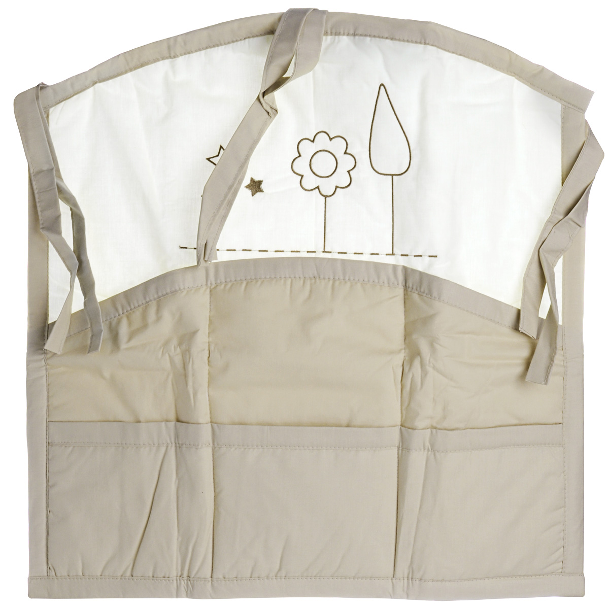 Карман на кроватку Fairy Я и моя мама, цвет: белый, бежевый, 59 см х 60 см сумка для пеленок и подгузников fairy я и моя мама цвет бежевый 50 см х 40 см