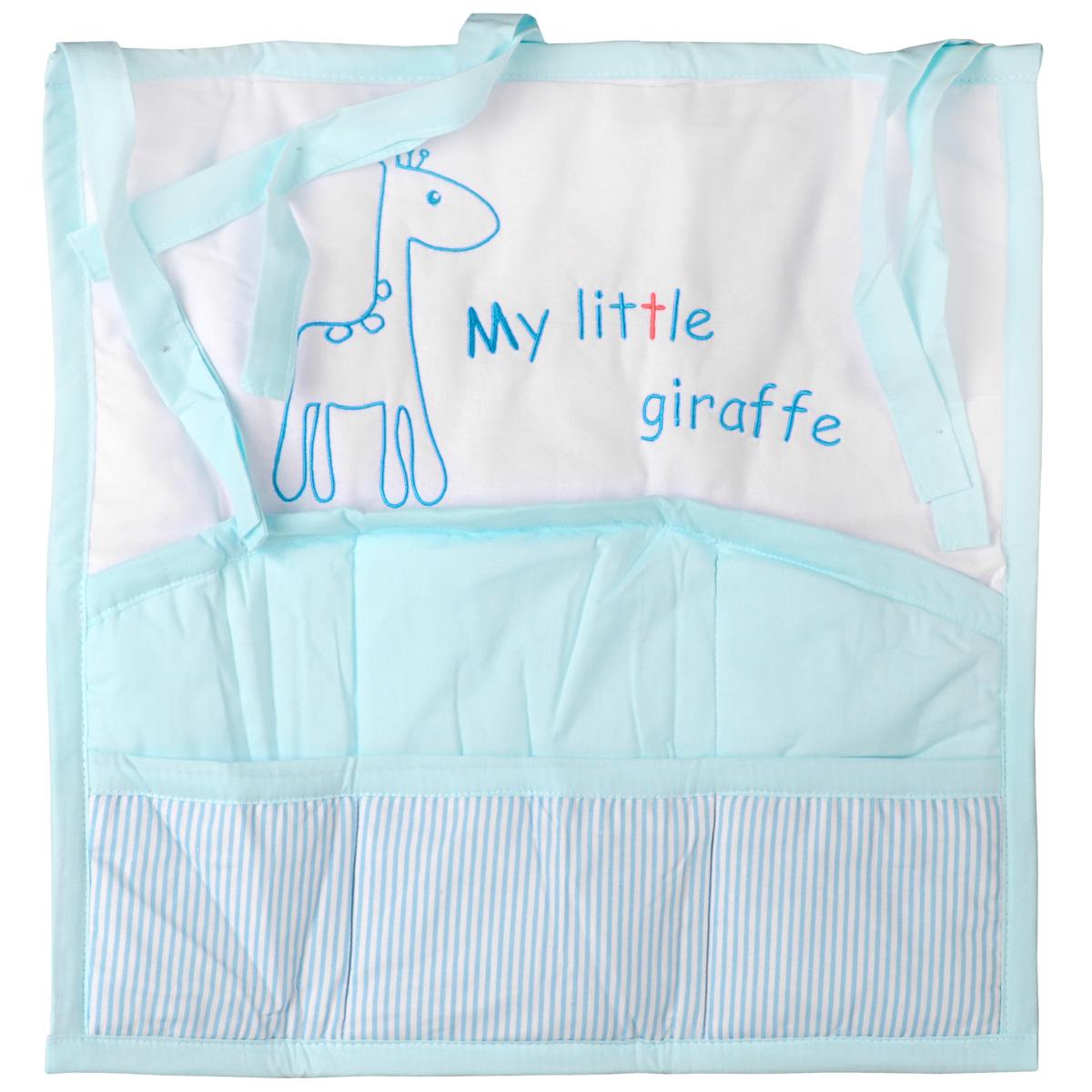 """Карман на кроватку Fairy """"Жирафик"""", изготовленный из натурального 100% хлопка с наполнителем из полиэстера, декорирован изображением забавного жирафа и надписью """"My Little Giraffe"""". Изделие оборудовано шестью вместительными кармашками и предназначено для хранения самых необходимых вещей малыша (игрушки, соски, бутылочки, подгузников или пеленки) и создания благоприятного эмоционального фона детской комнаты. С помощью текстильных веревочек, карман можно привязывать к спинке кроватки, как с внешней, так и с внутренней стороны. Общий размер изделия: 59 см х 60 см. Средний размер кармашков: 17 см х 18 см."""