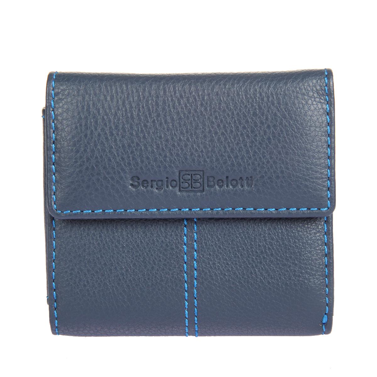 Портмоне мужское Sergio Belotti, цвет: синий. 3410BM8434-58AEМужское портмоне Sergio Belotti выполнено из натуральной кожи с зернистой фактурой и оформлено декоративной прострочкой. Лицевая сторона изделия оформлена тисненными названием и логотипом бренда. Портмоне закрывается клапаном на застежку-кнопку и внутри содержит два потайных кармана, два прорезных кармашка для визиток и пластиковых карт, вместительный карман-уголок для купюр. На тыльной стороне изделия размещен карман для мелочи на застежке-кнопке.Портмоне упаковано в фирменную коробку.Такое портмоне станет отличным подарком для человека, ценящего качественные и практичные вещи.