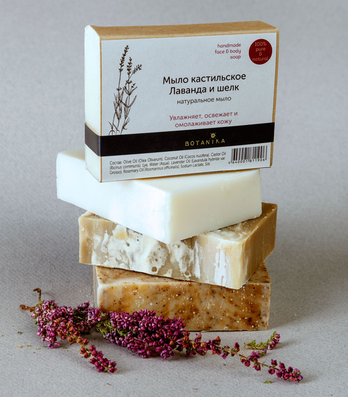 Botanika Мыло натуральное кастильское Лаванда и шелк, 100 г3010150Натуральное мыло ручной работы на основе натуральных масел увлажняет, освежает и омолаживает кожу. Товар сертифицирован.