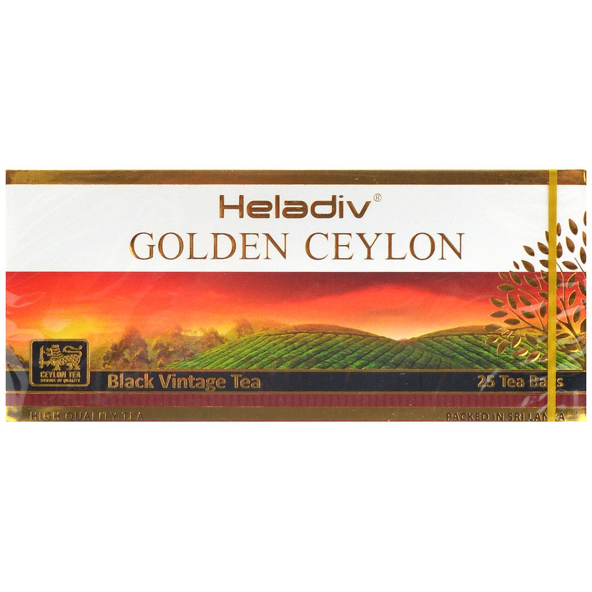 Heladiv Golden Ceylon Vintage Black черный пакетированный чай, 25 пакетиков0120710Heladiv Golden Ceylon Vintage Black - черный цейлонский чай в пакетиках для разовой заварки.
